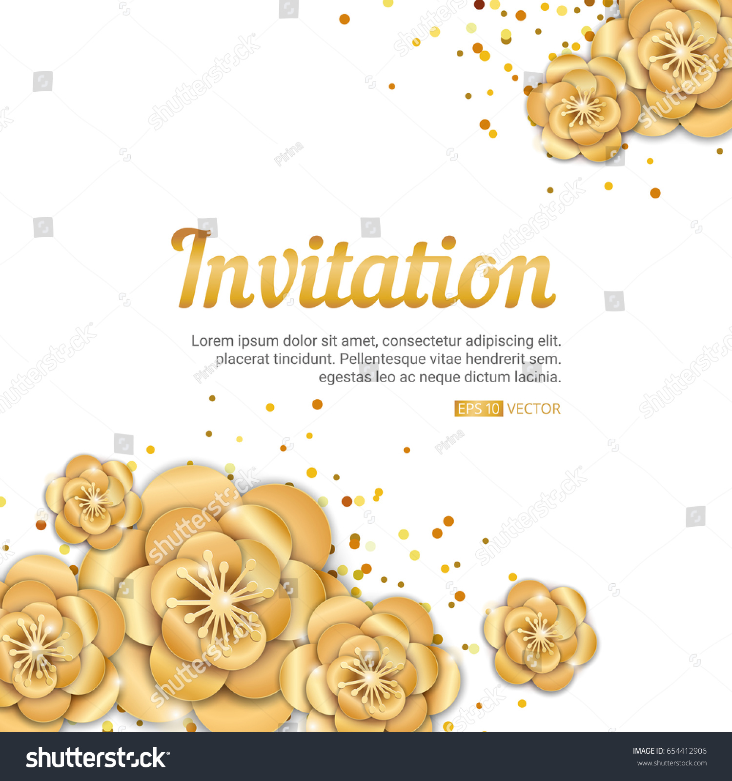 gold lotus flower invitation banner spring のベクター画像素材