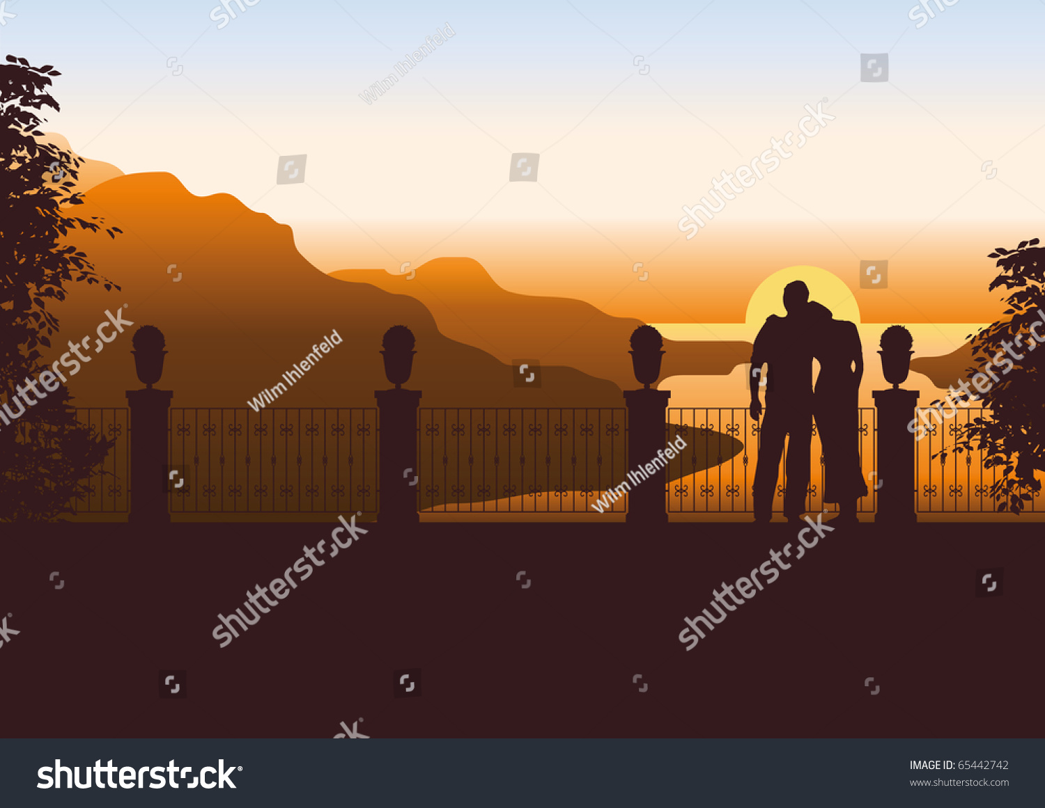 Illustration of a couple on a terrace watching the sun for 4758 setting sun terrace