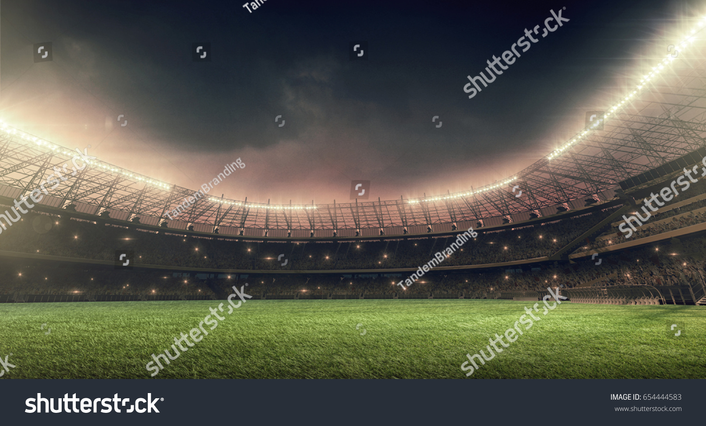 soccer stadium with illumination, green grass and night sky #654444583