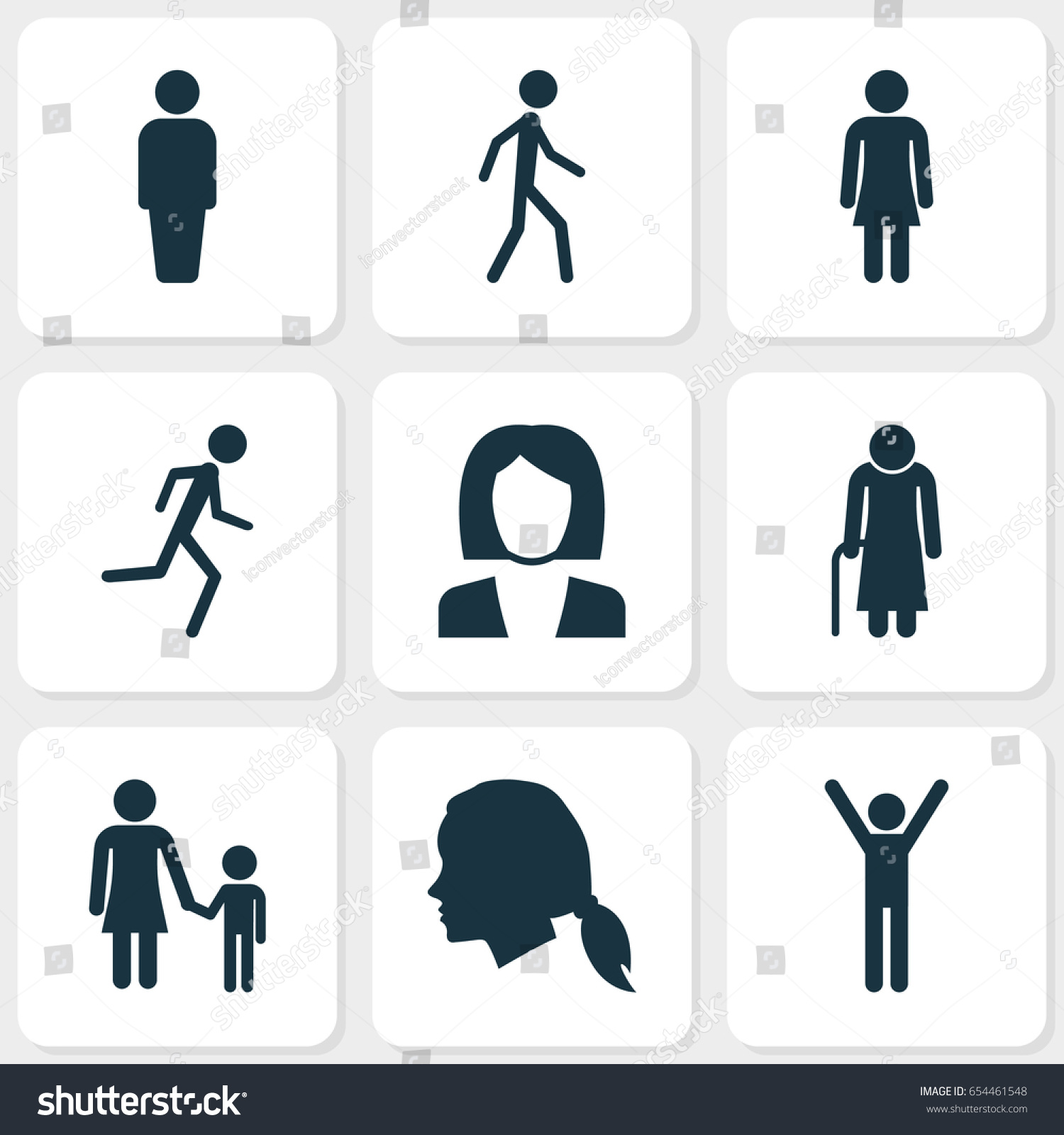 People icons set collection female old stock vector 654461548 collection of female old woman family and other elements biocorpaavc