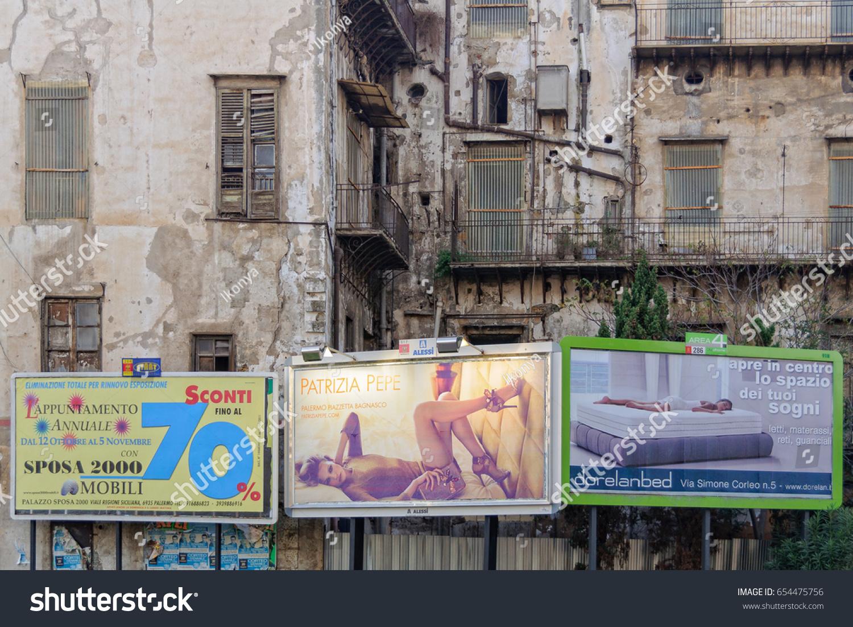 Illuminated Billboards Front Dilapidated House Palermo Stock Photo ...