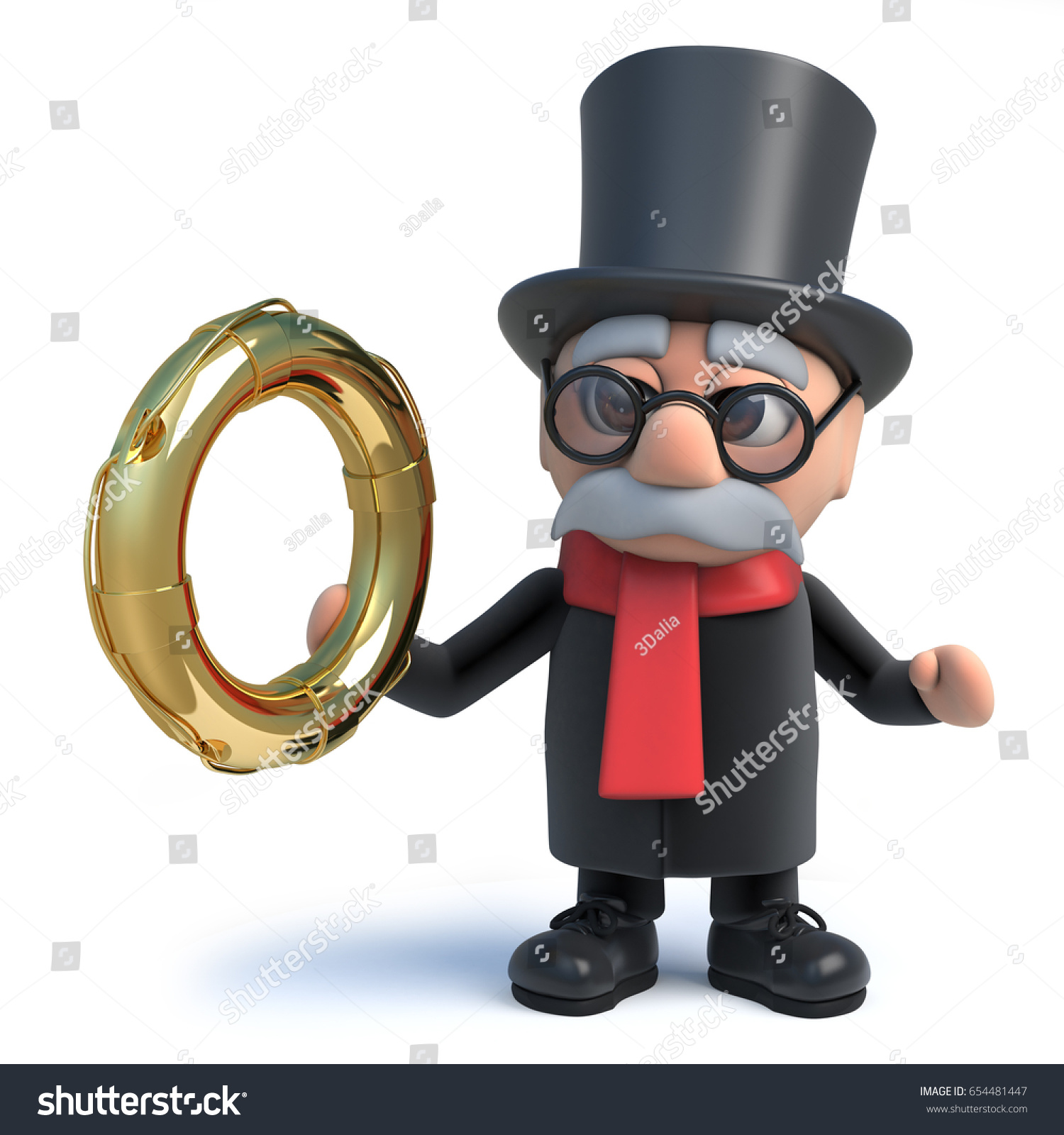 With golden key 3d rendering plan concept with golden key 3d rendering - 3d Render Of A Funny Cartoon Lord Character Wearing A Top Hat And Holding A Gold