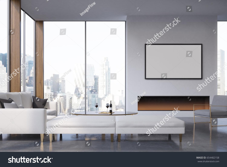 Corner Living Room Fireplace Poster Hanging Stock Illustration ...