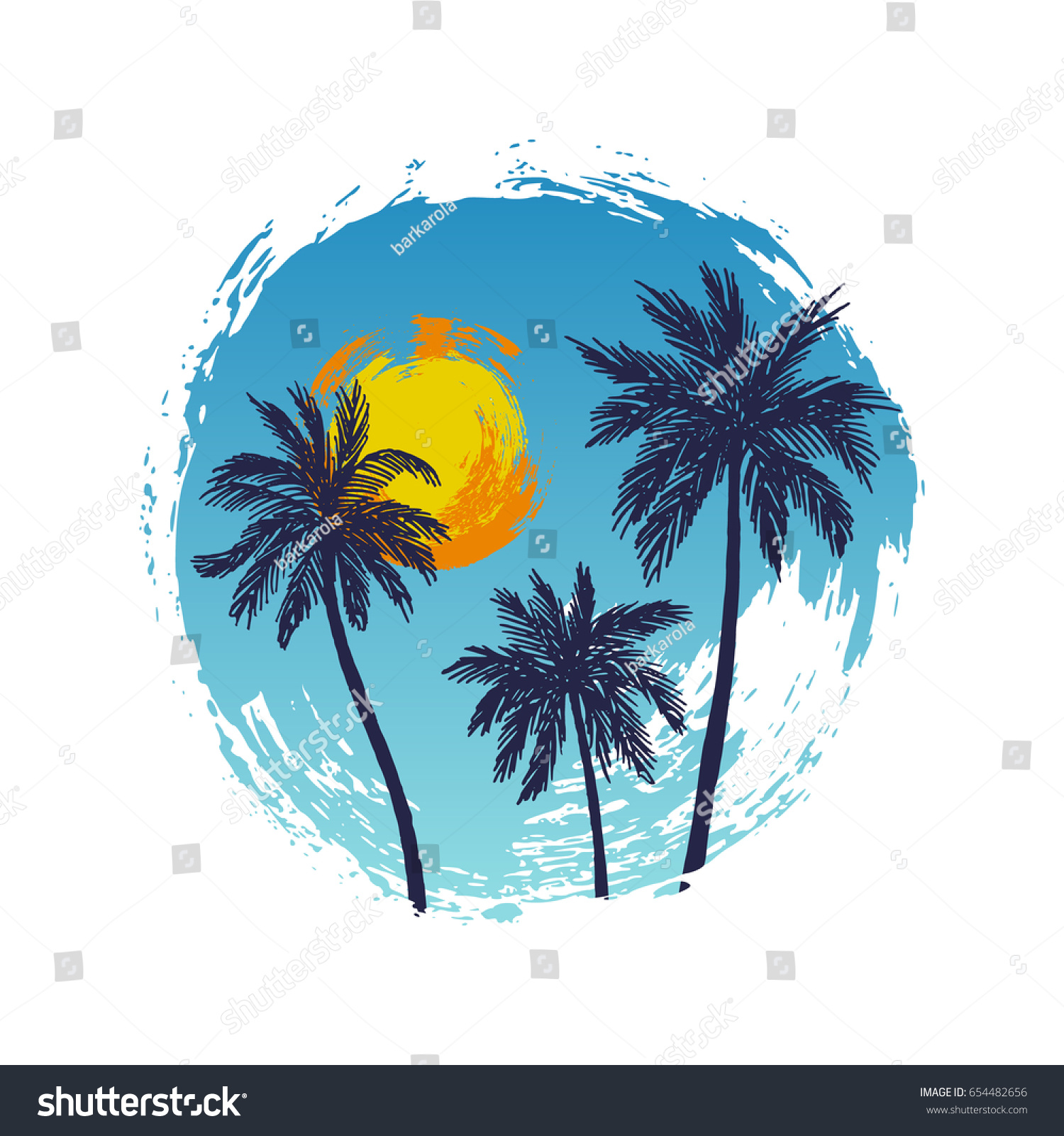 Vector Illustration Hand Drawn Palm Trees Stock Vector Royalty Free 654482656