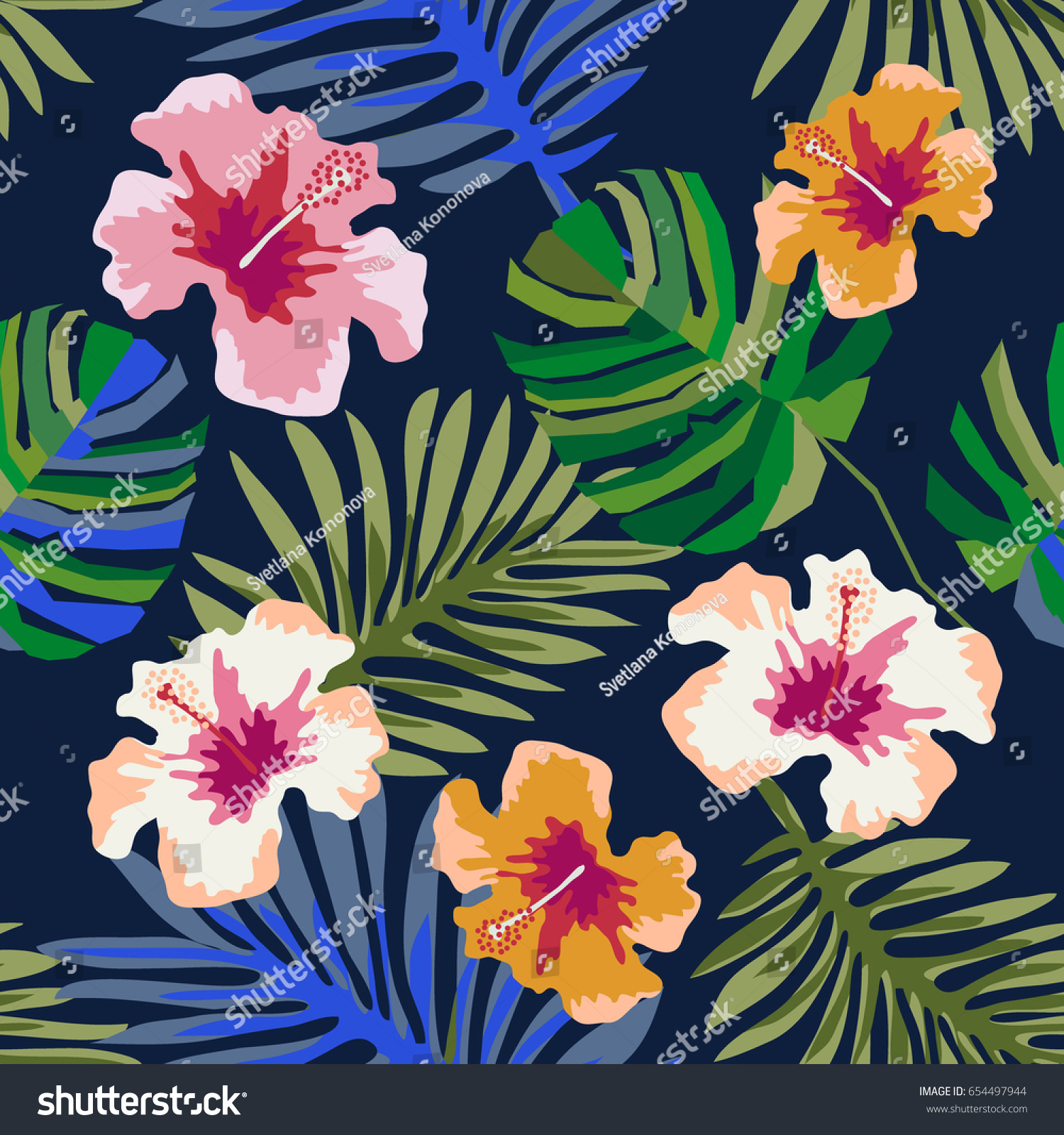 Magic hawaiian night seamless vector pattern stock vector royalty magic hawaiian night seamless vector pattern with palm leaves and hibiscus flowers on dark blue izmirmasajfo