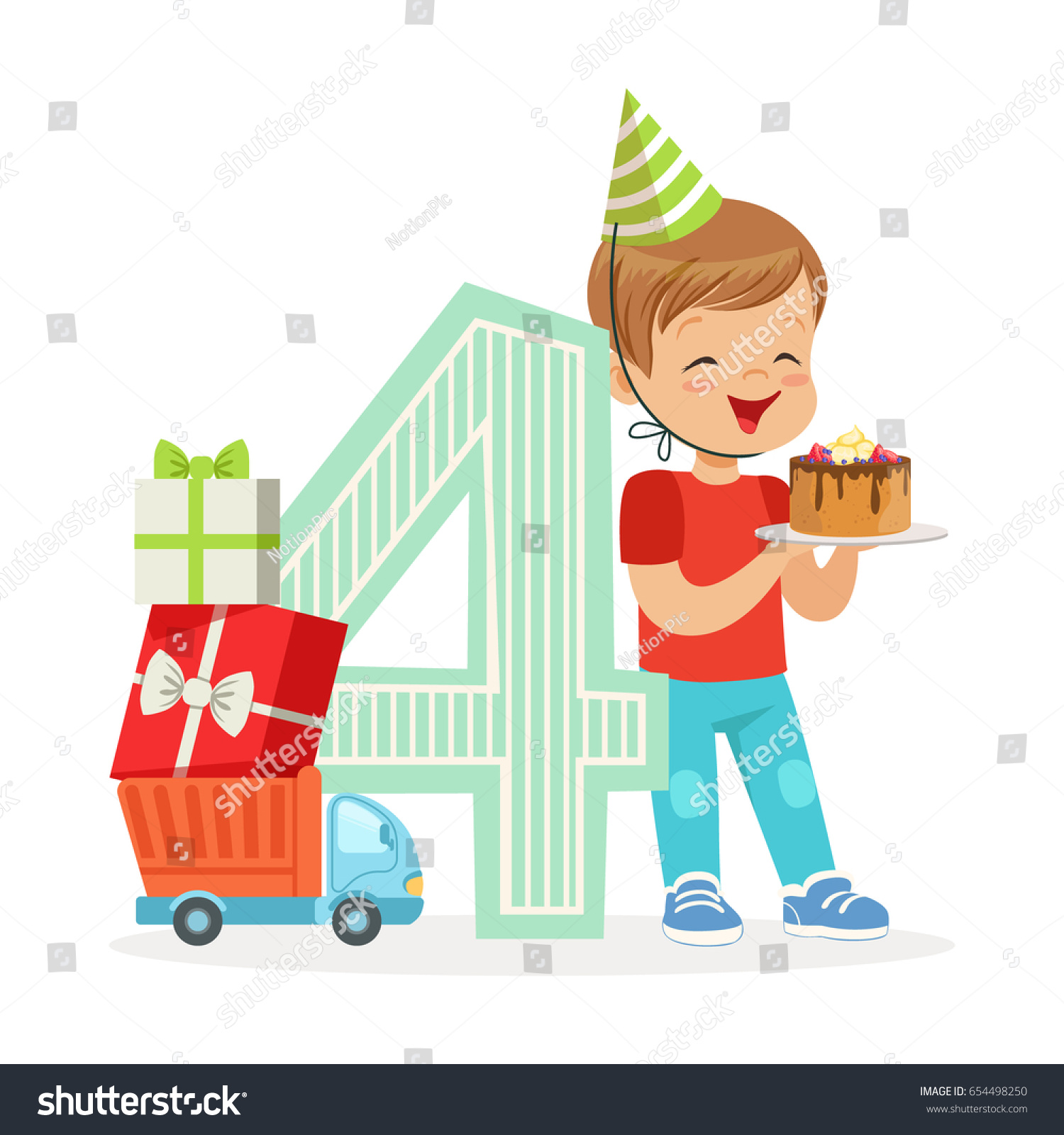 Adorable Four Year Old Boy Celebrating His Birthday With Cake Colorful Cartoon Character Vector