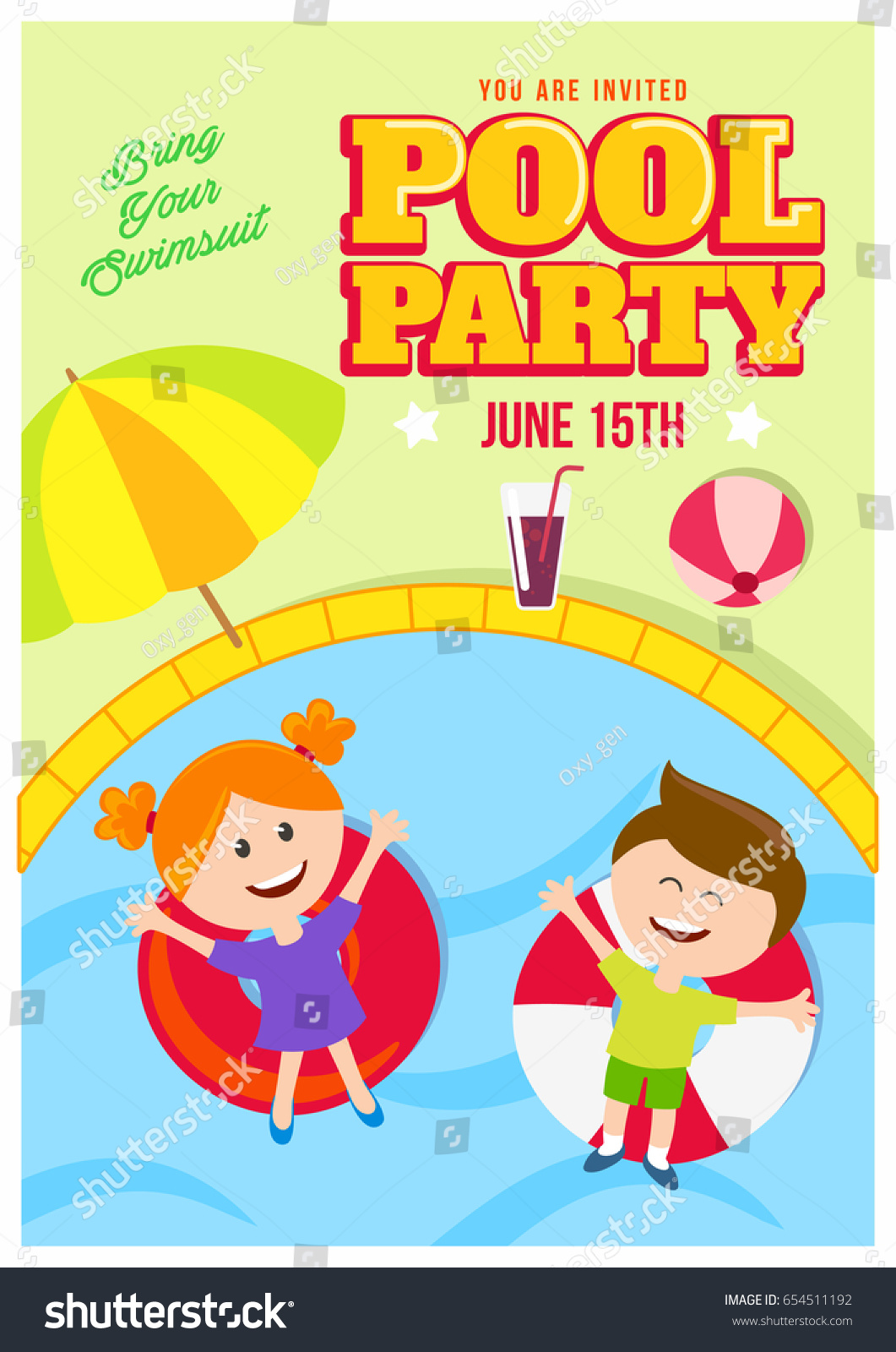 Pool Party Invitation Colorful Poster Flat Stock Vector 654511192 ...