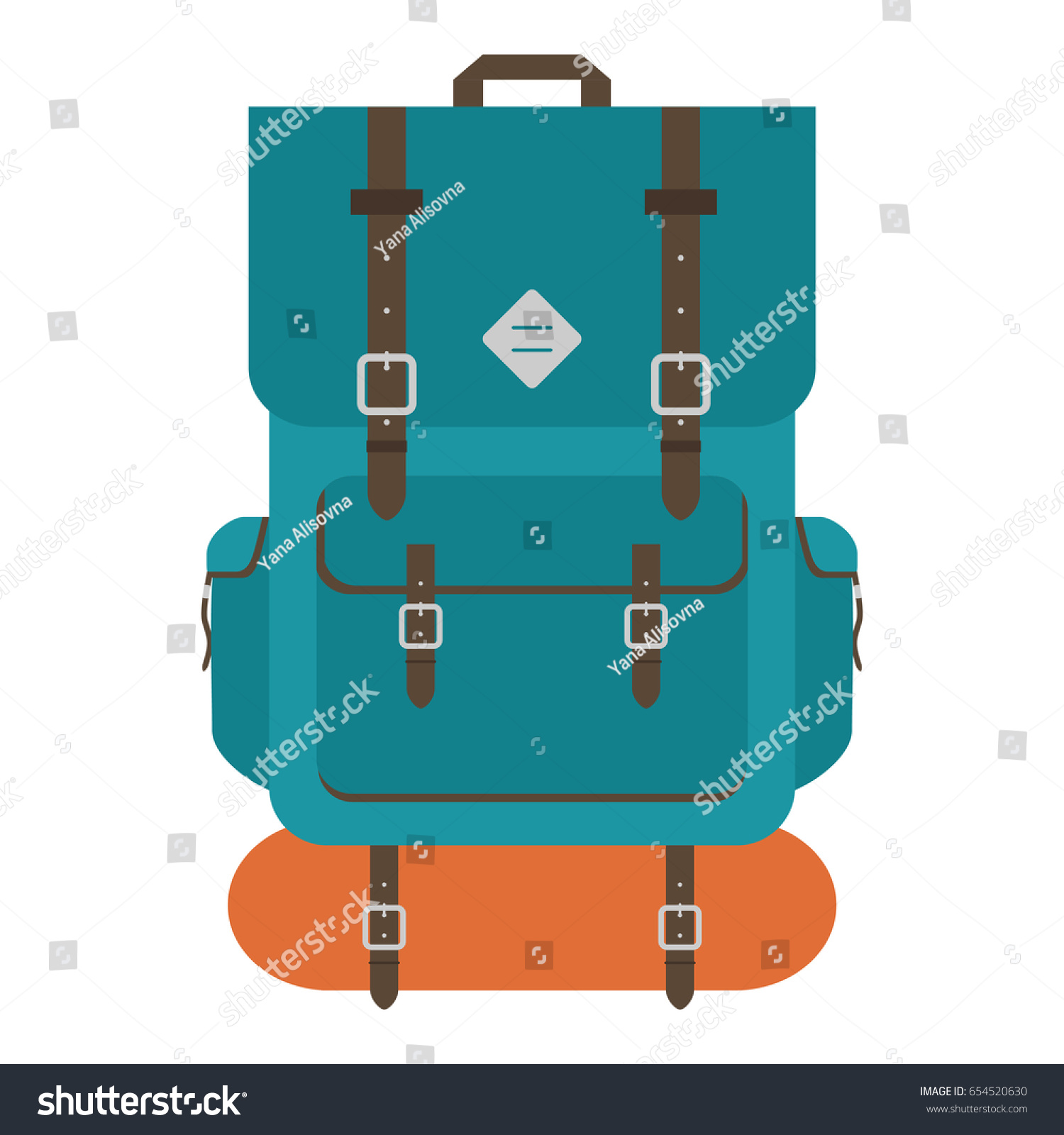 Camping Backpack Tourist Hiking With Sleeping Bag Flat Design Vector Illustration