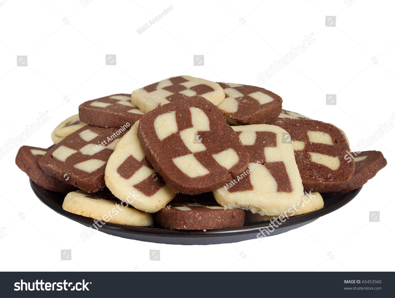 Vanilla And Chocolate Checkerboard Swirl Cookies Over White Stock ...