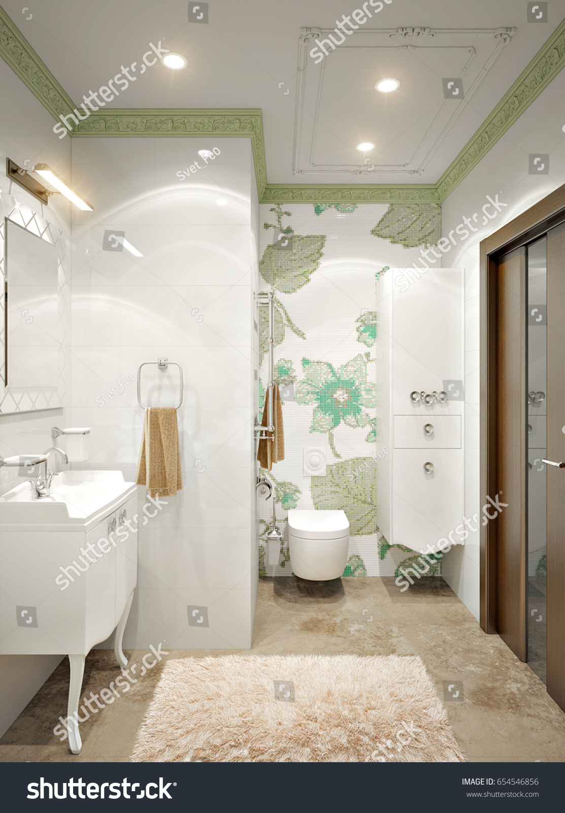 Luxurious Elegant Classic Style Bathroom Interior Stock Illustration ...