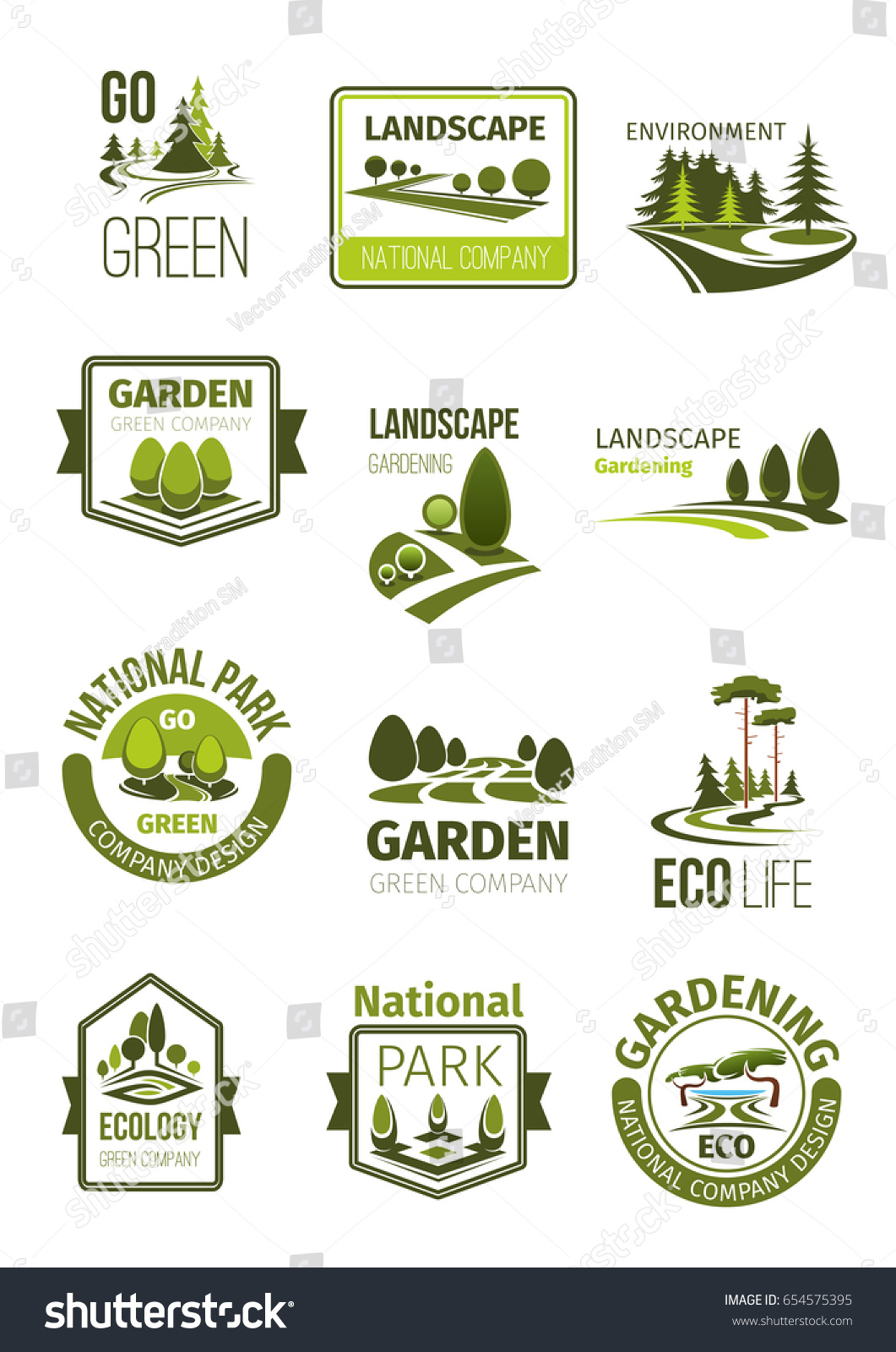 Garden green landscape design company icons stock vector for Landscape design icons