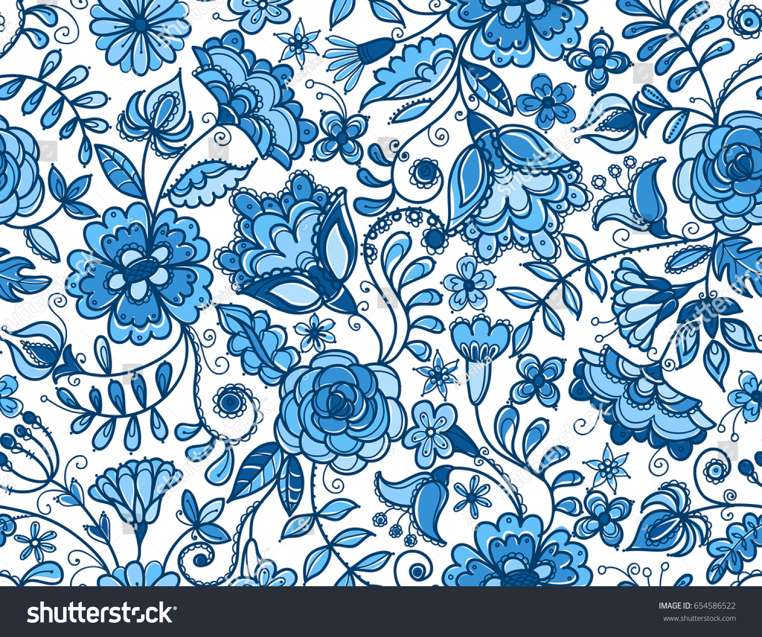 Artistic floral element abstract gzhel folk art blue flowers stock - Traditional Russian Vector Seamless Pattern In Gzhel Style Fabulous Blue Flowers On White Background
