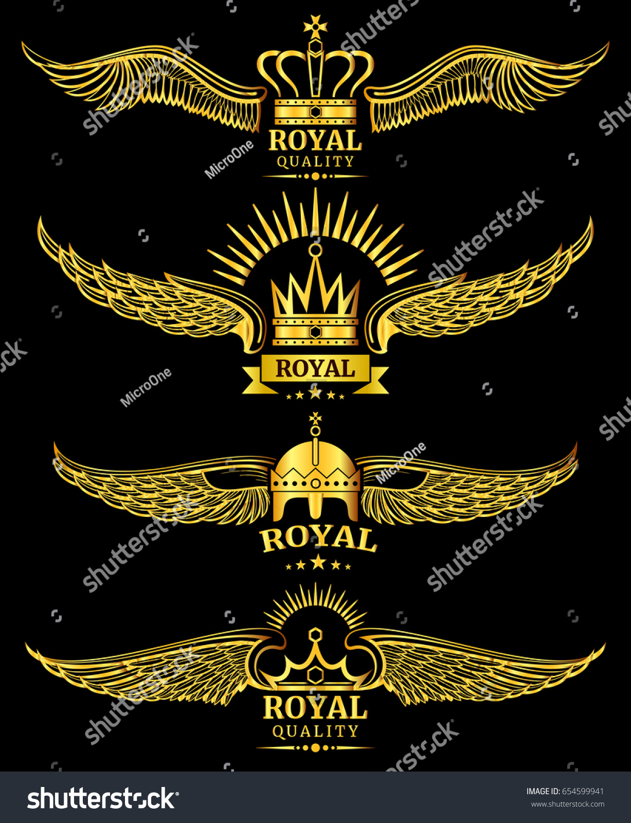 Golden Wing Crown Royal Quality Luxury Logo Templates Illustration