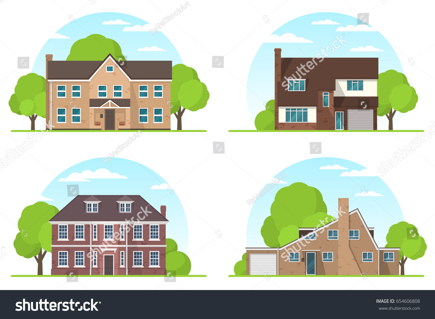 Set Frontview English Style Suburban Private Stock Vector 654606808 ...