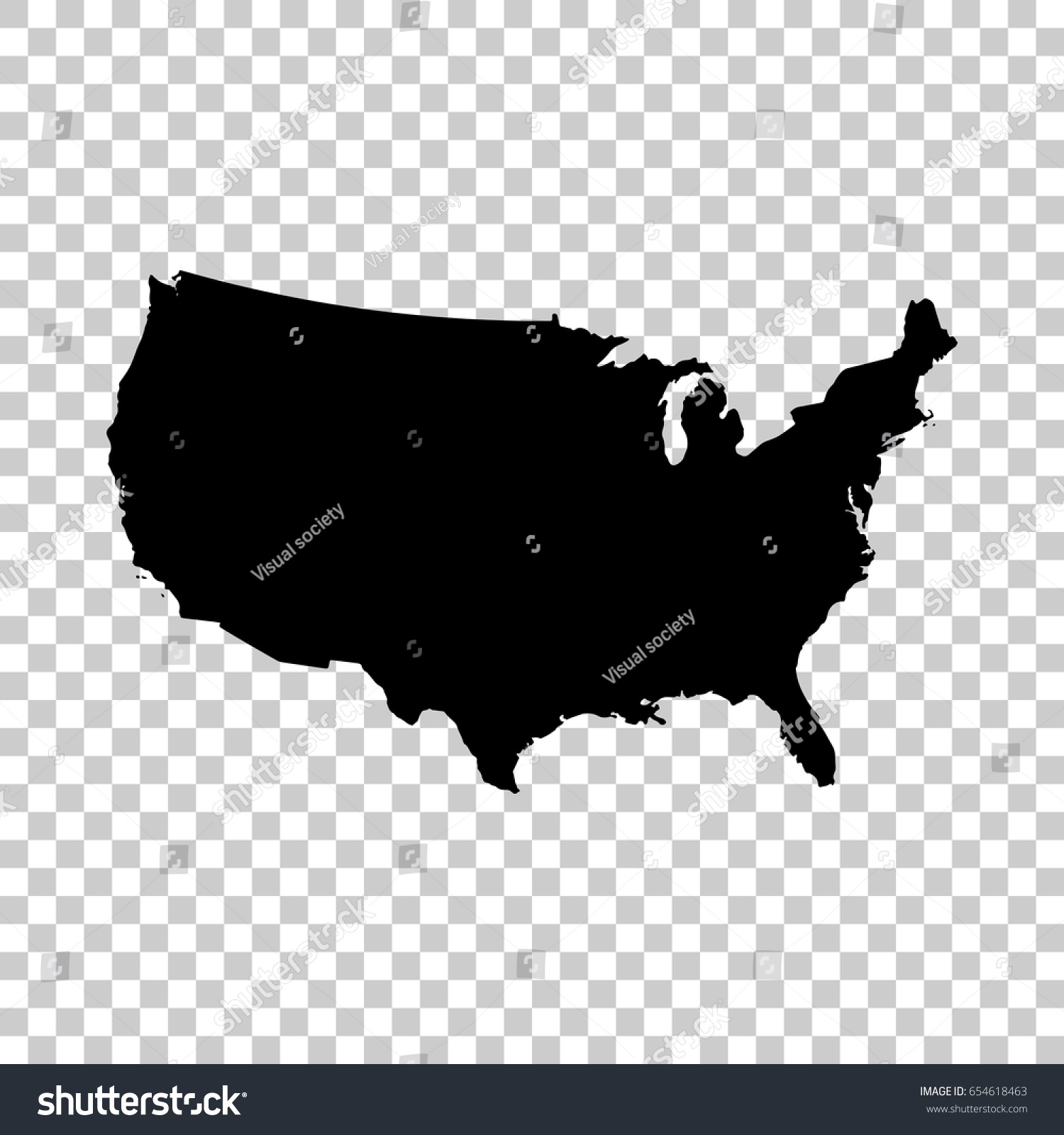 Usa Map Isolated On Transparent Background Stock Vector
