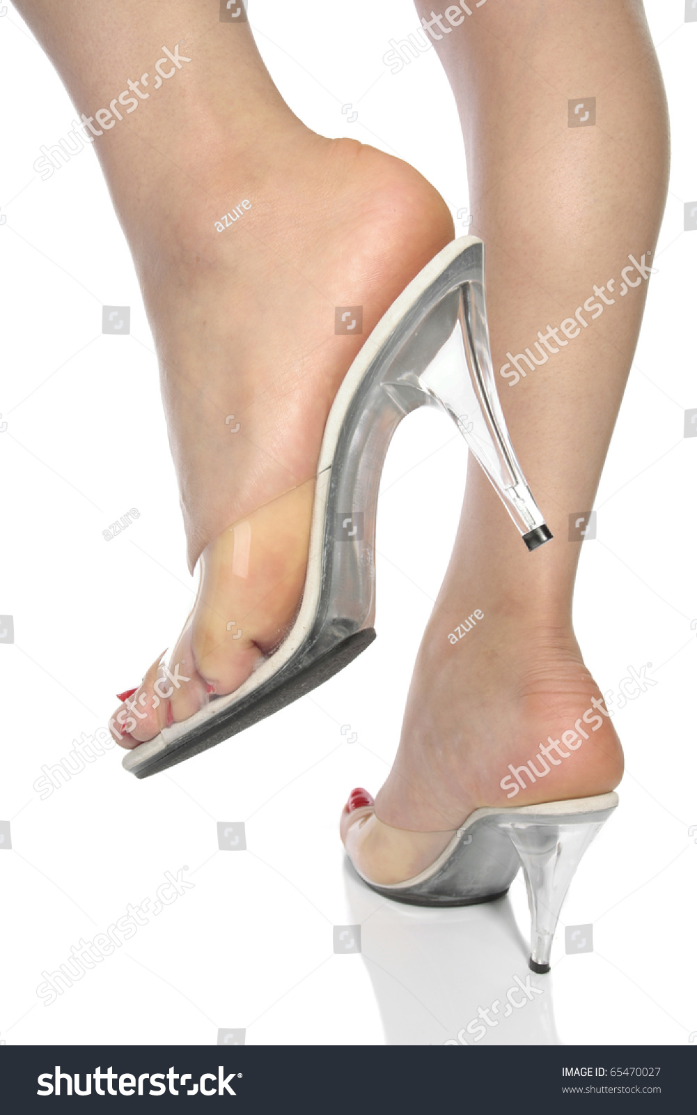Beautiful Woman Feet Heel Shoes Over Stock