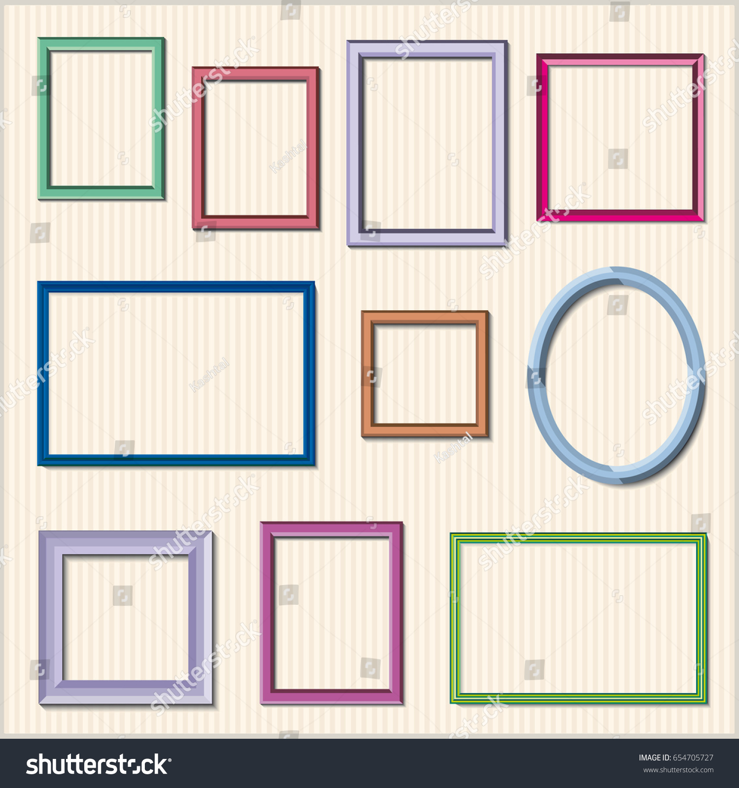 Set Colorful Wooden Frames Wooden Square Stock Vector 654705727 ...