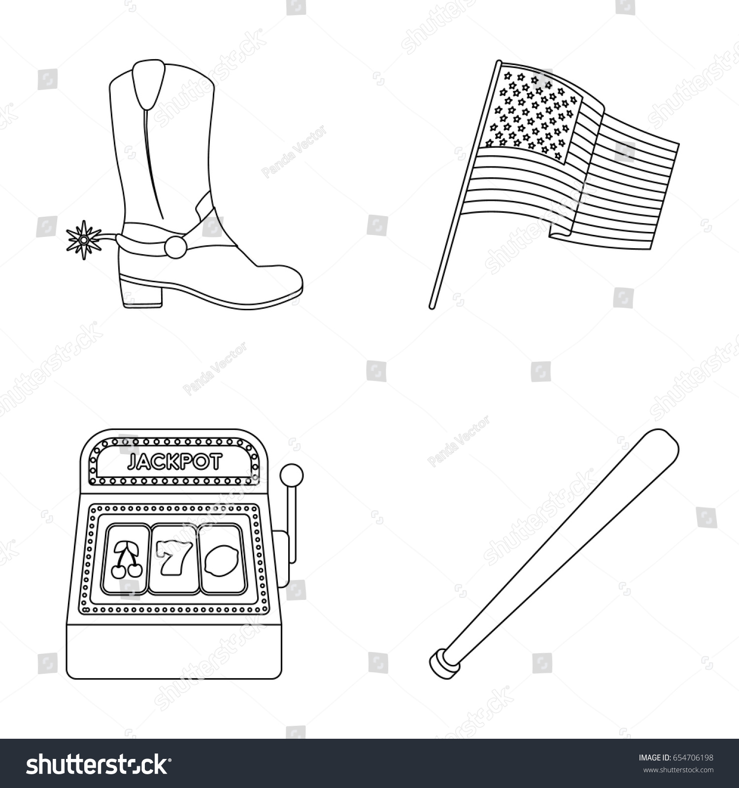 cowboy boots national flag slot machine stock vector 654706198
