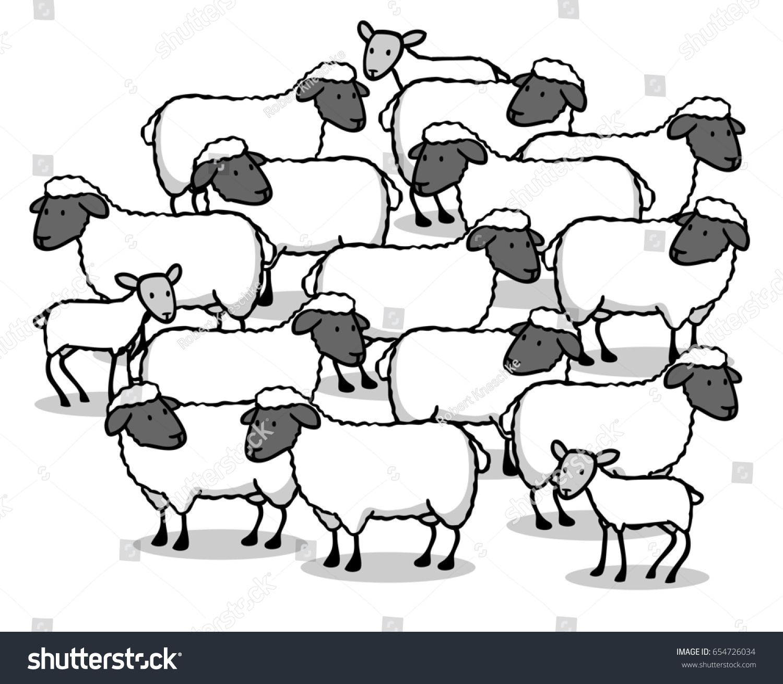 many sheep lambs together flock sheep stock illustration 654726034