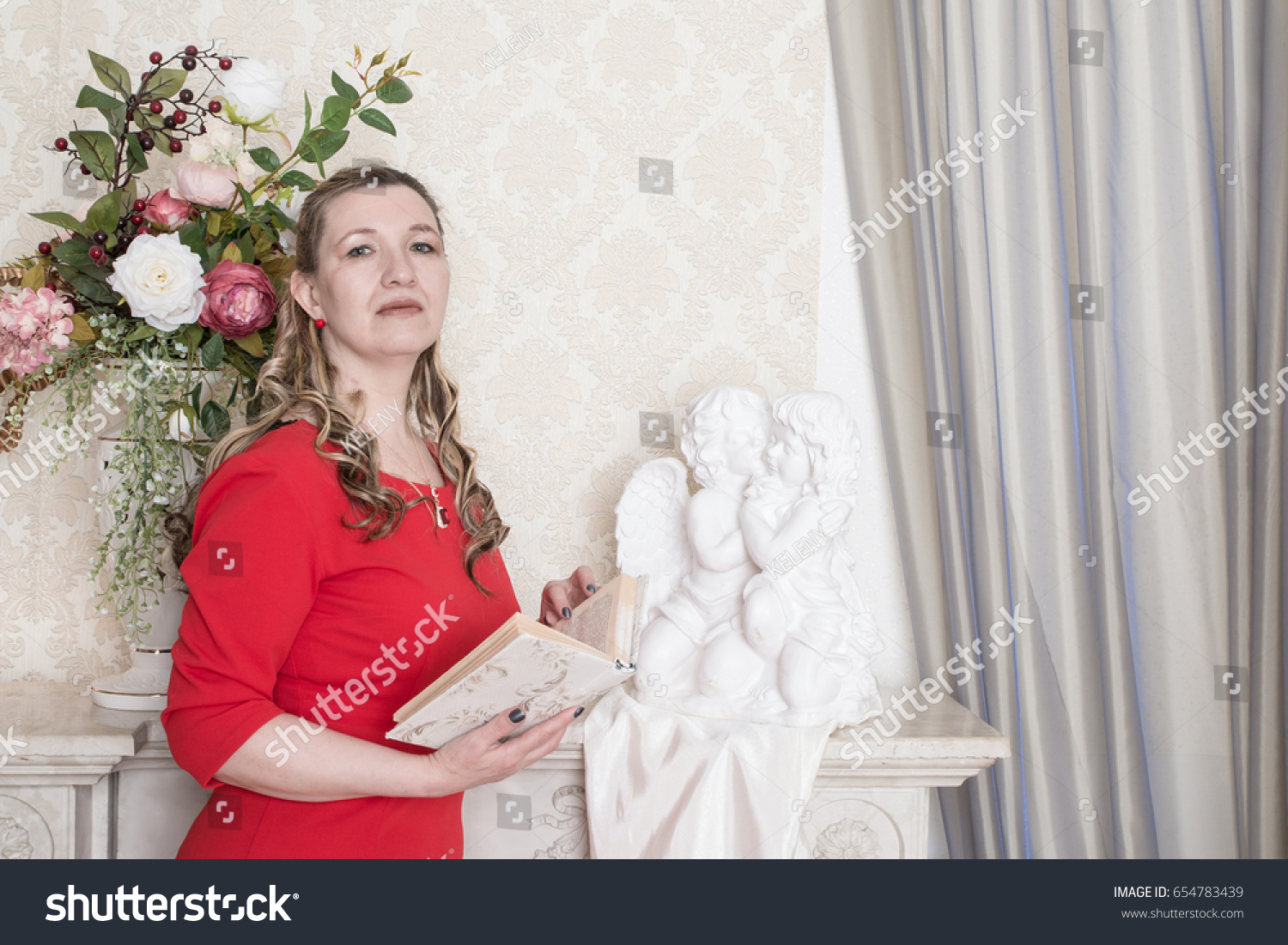 e1d5d26d2 Ugly Domineering Woman Posing Red Dress Stock Photo (Edit Now ...