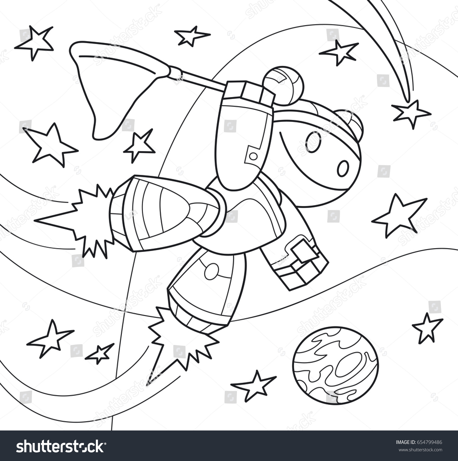 Robot Girl With A Net In Space Coloring Book Cartoon Vector Illustration