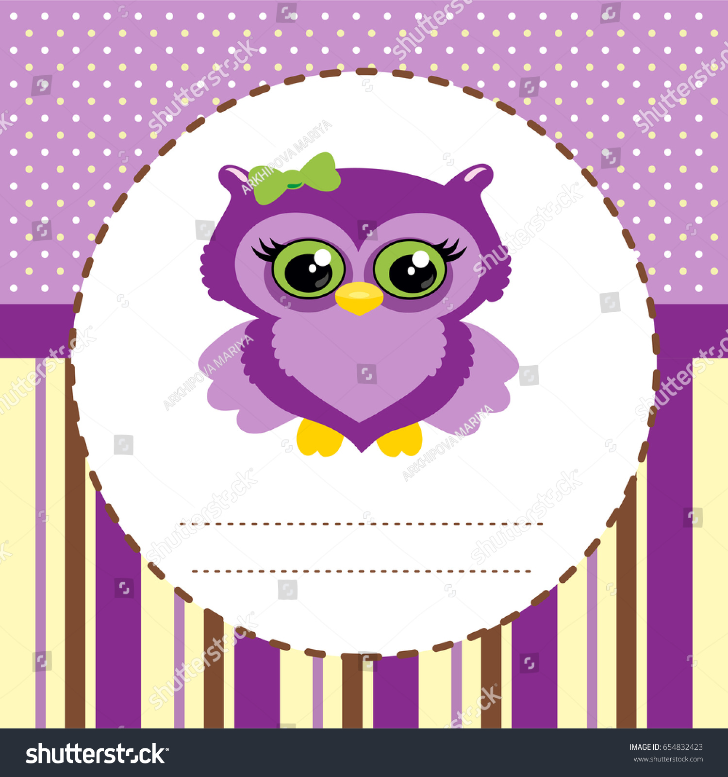 Baby shower invitation card cute owl stock vector 654832423 baby shower invitation card with cute owl stopboris Choice Image