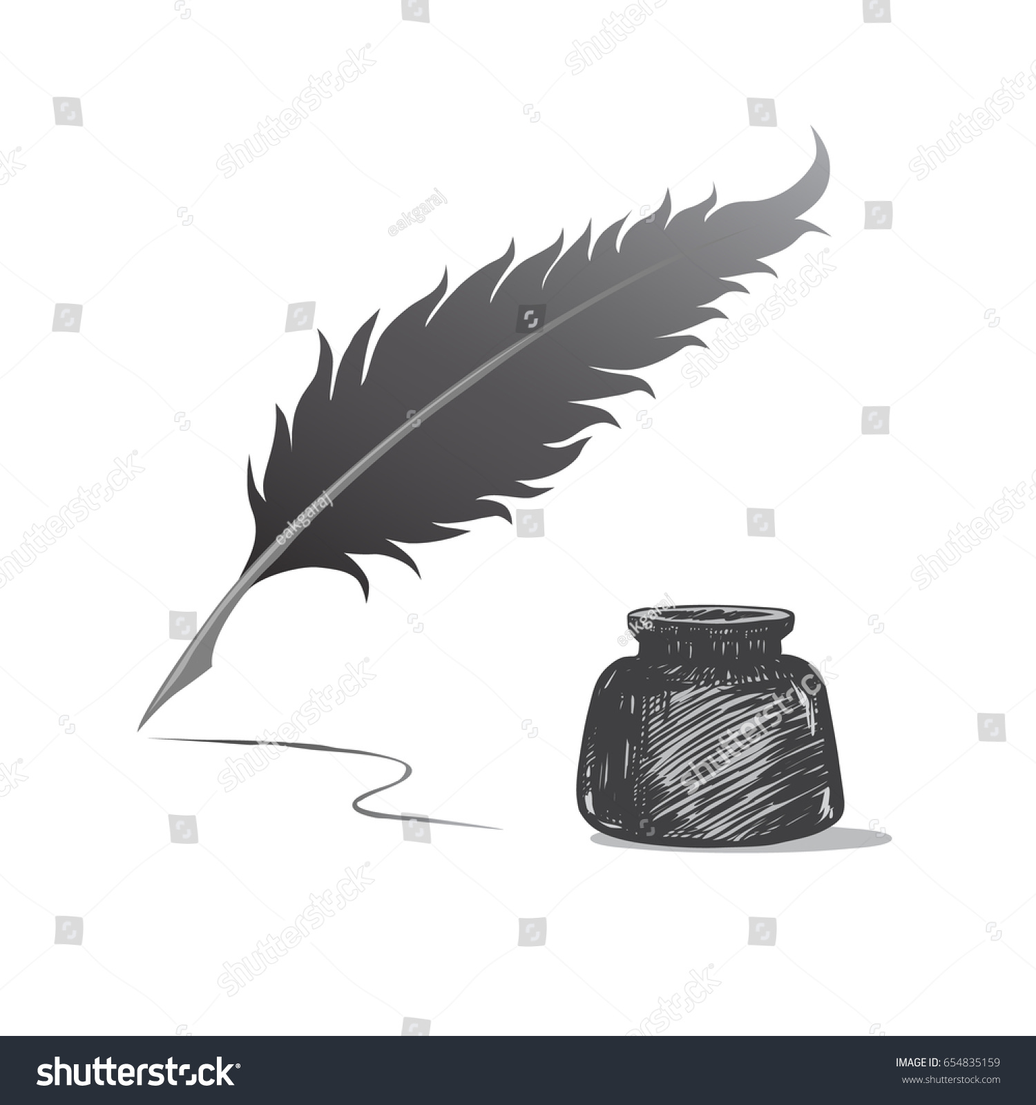 Ancient Soapstone Inkwell Stock Photo: Feather Pen Inkwell Drawing Ancient Stationery Stock