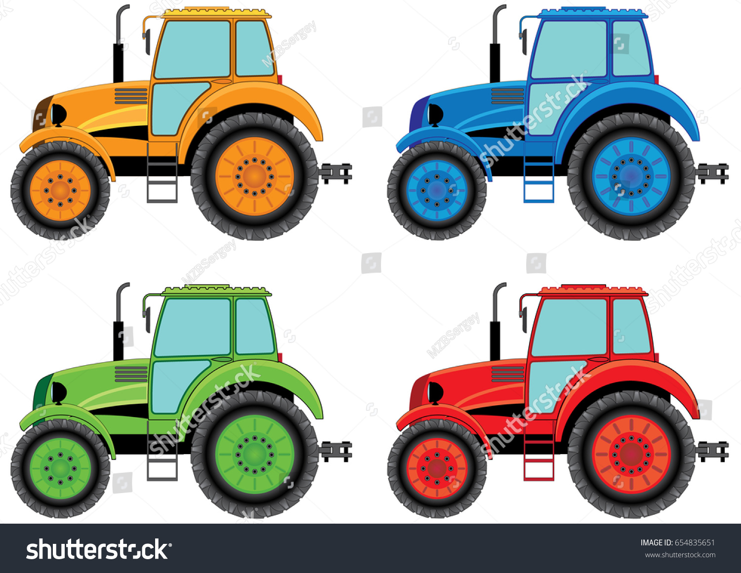 Set Color Wheel Agricultural Tractors Print Royalty Free Stock Image