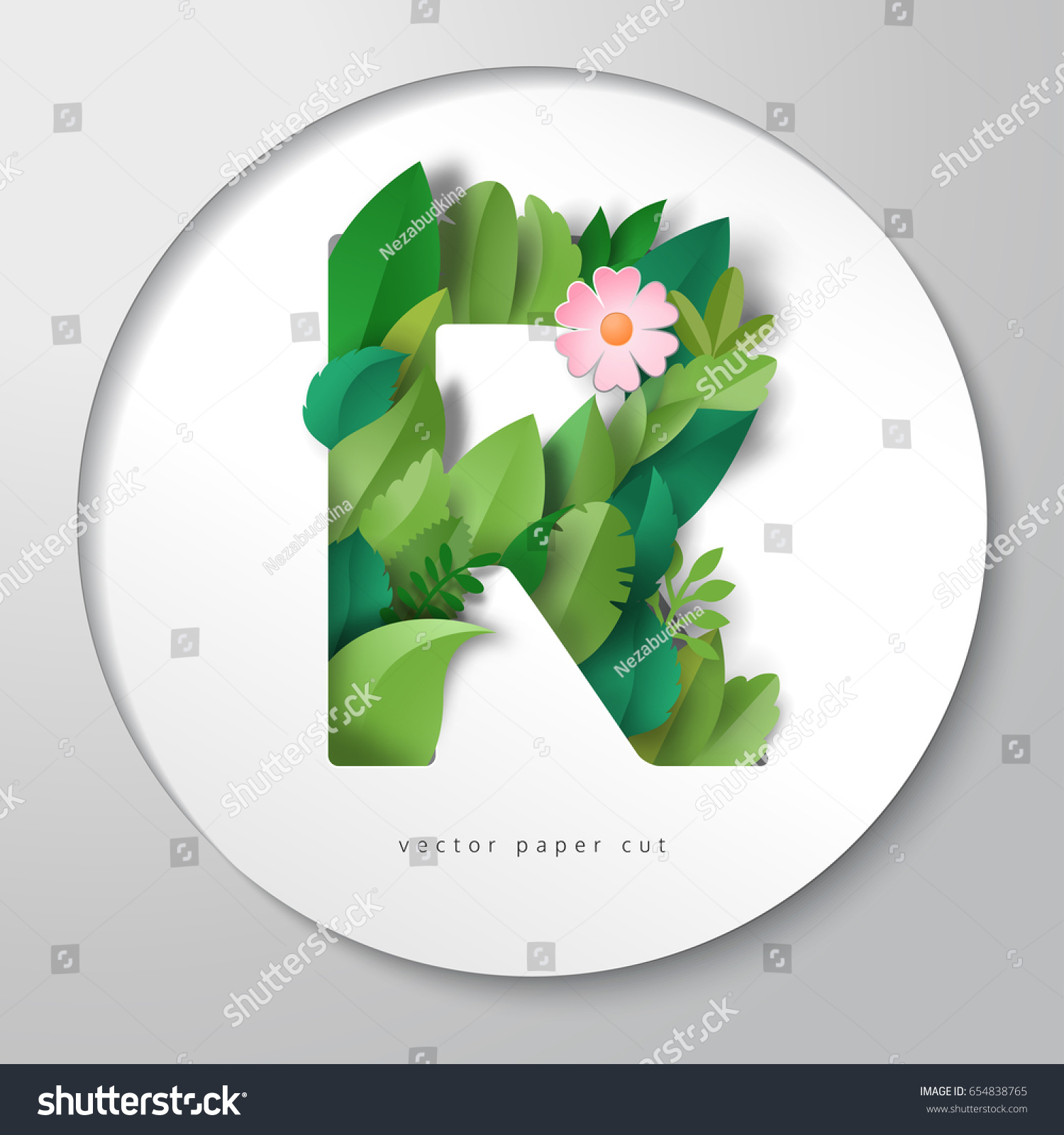 3d letter r round sticker letter of paper flower and leaves vector paper