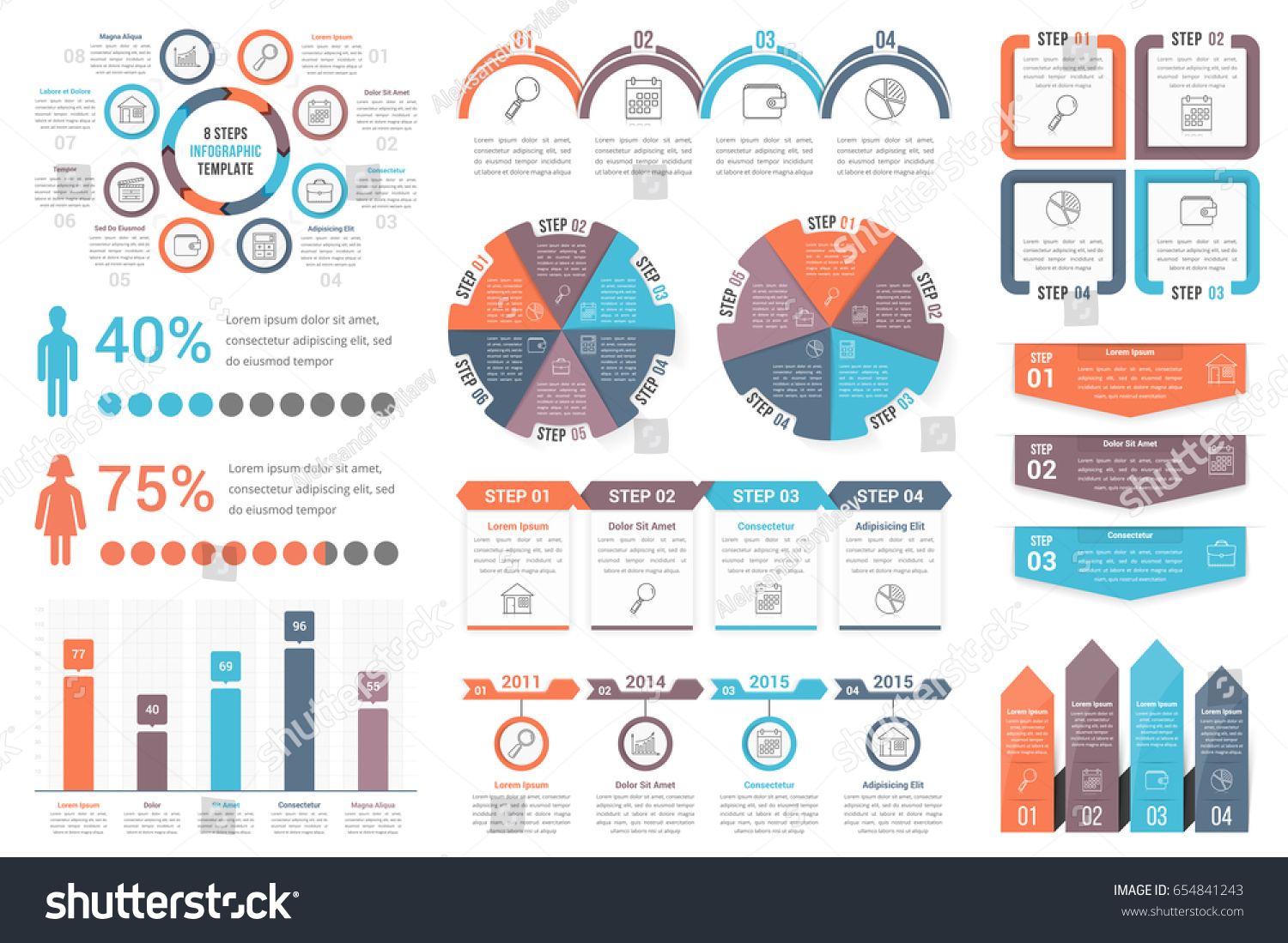 Infographic and diagram design elements vector set
