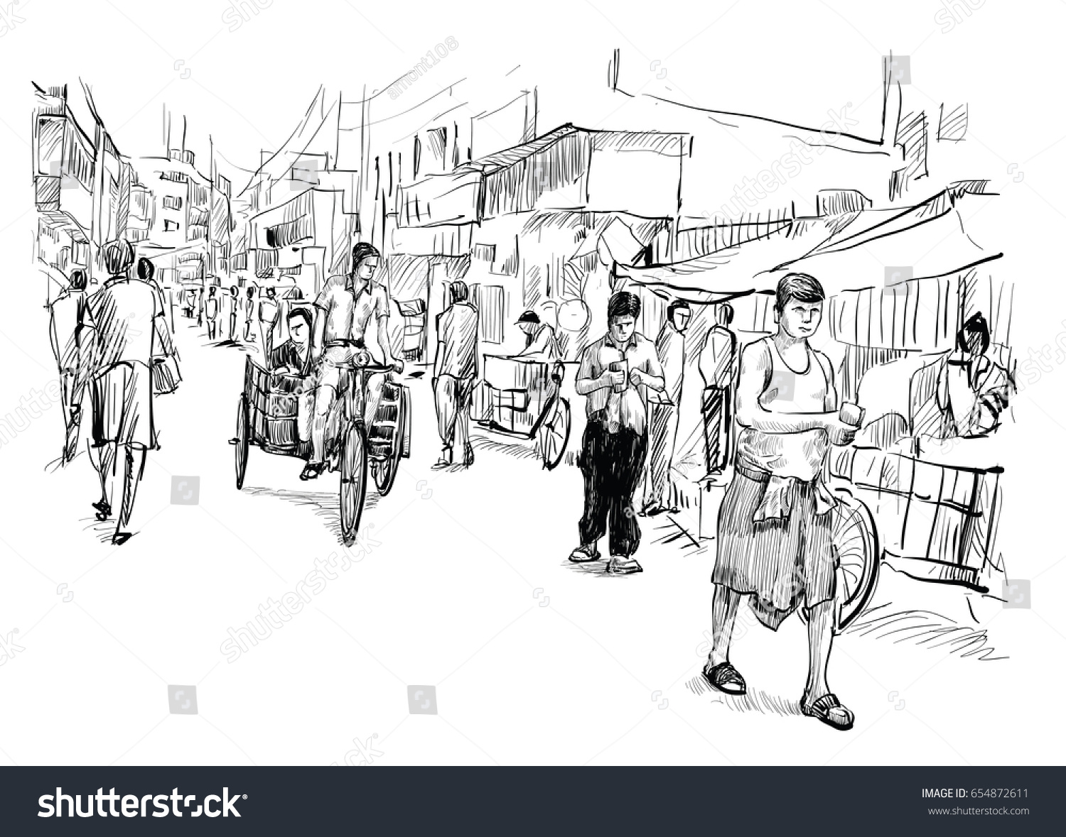Indian Marketplace Drawing Sketch Cityscape India...