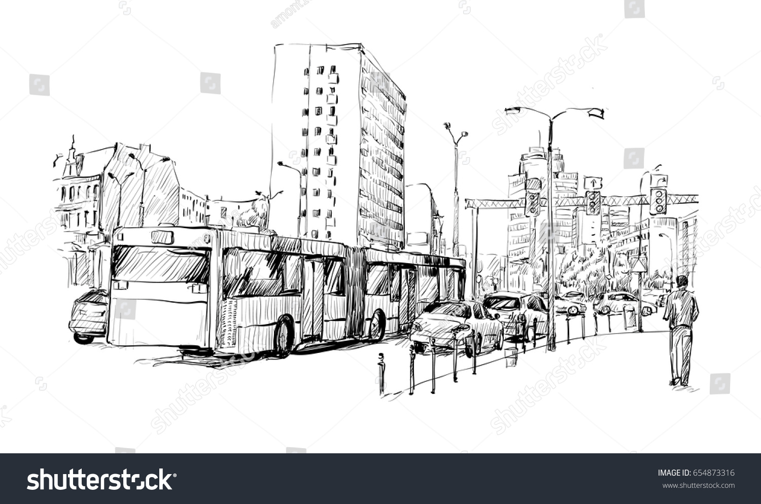 Sketch Cityscape Germany Show Traffic Jam Stock Vector 654873316 ...