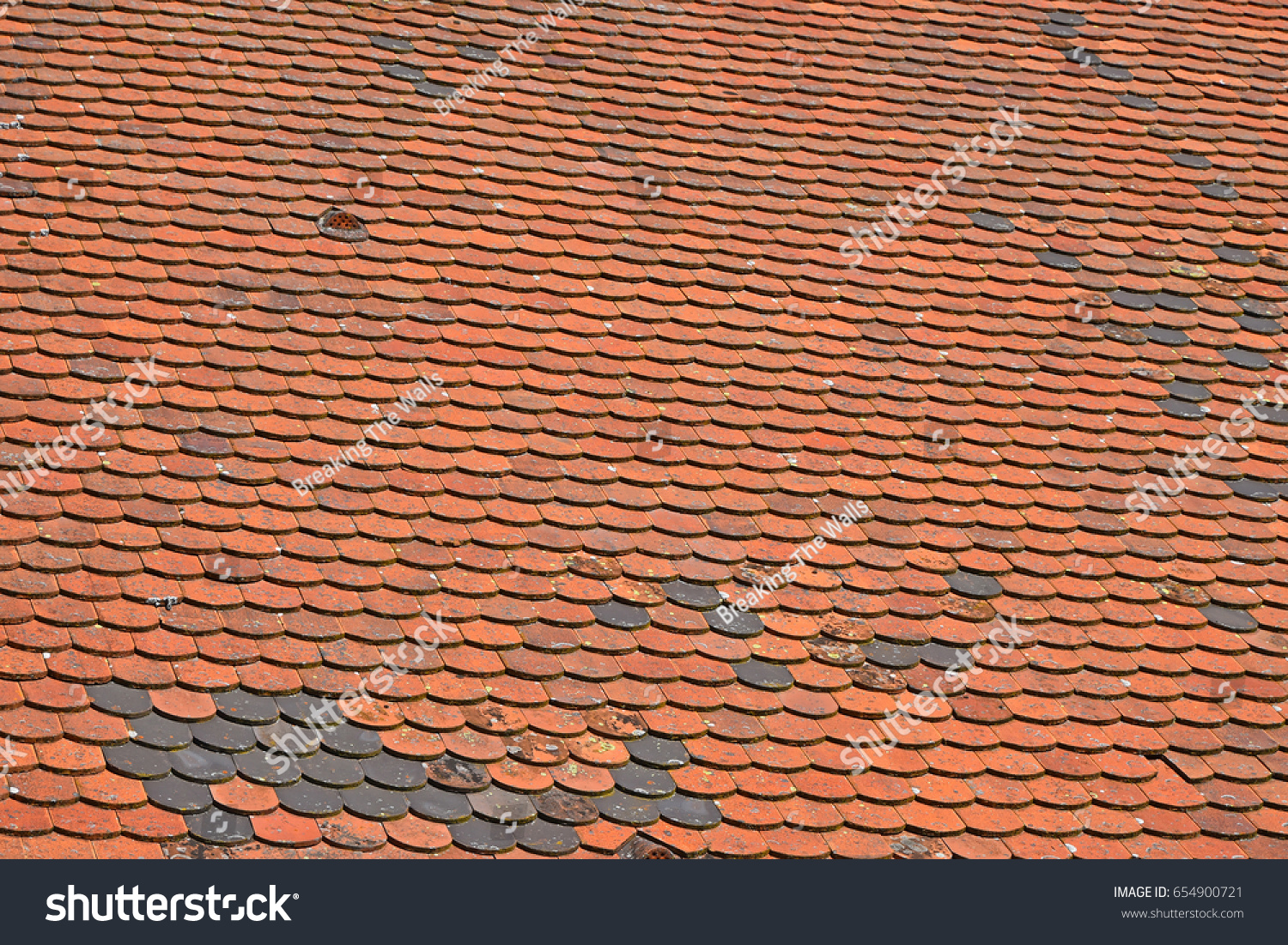 Old Weathered Vintage Traditional Red Brown Ceramic Roof Tiles