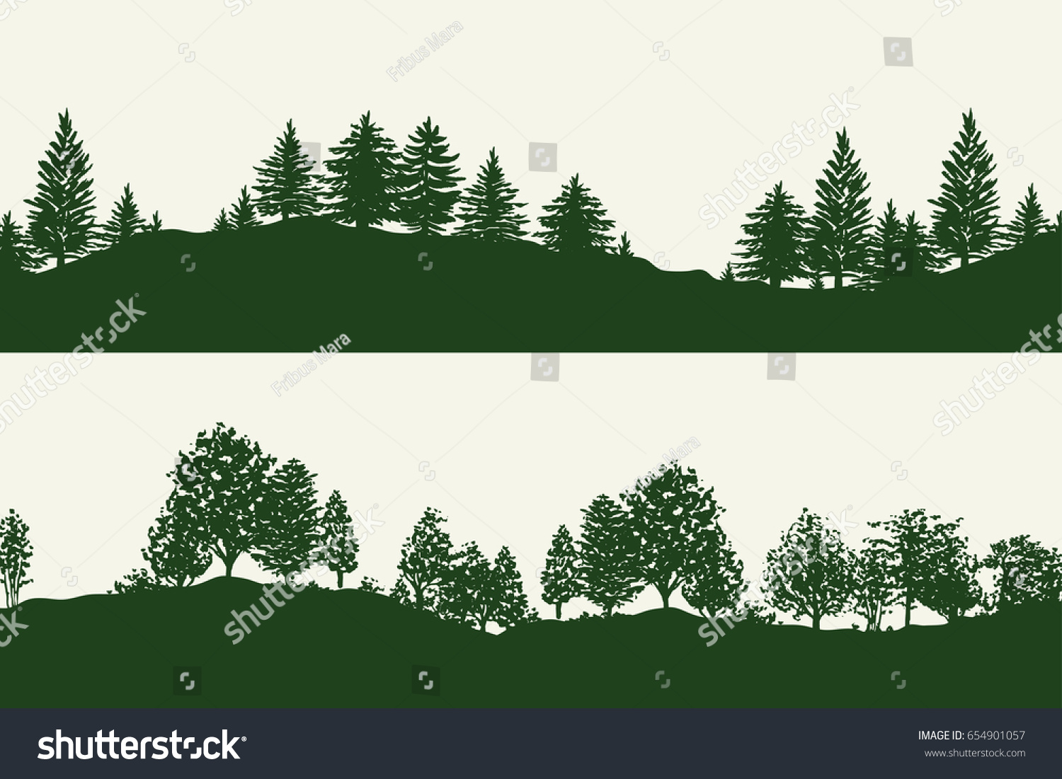 green forest trees silhouettes backgrounds vector stock vector