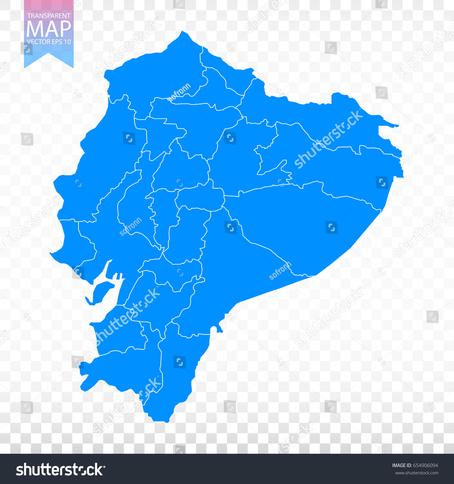 transparent high detailed blue map of ecuador vector illustration eps 10