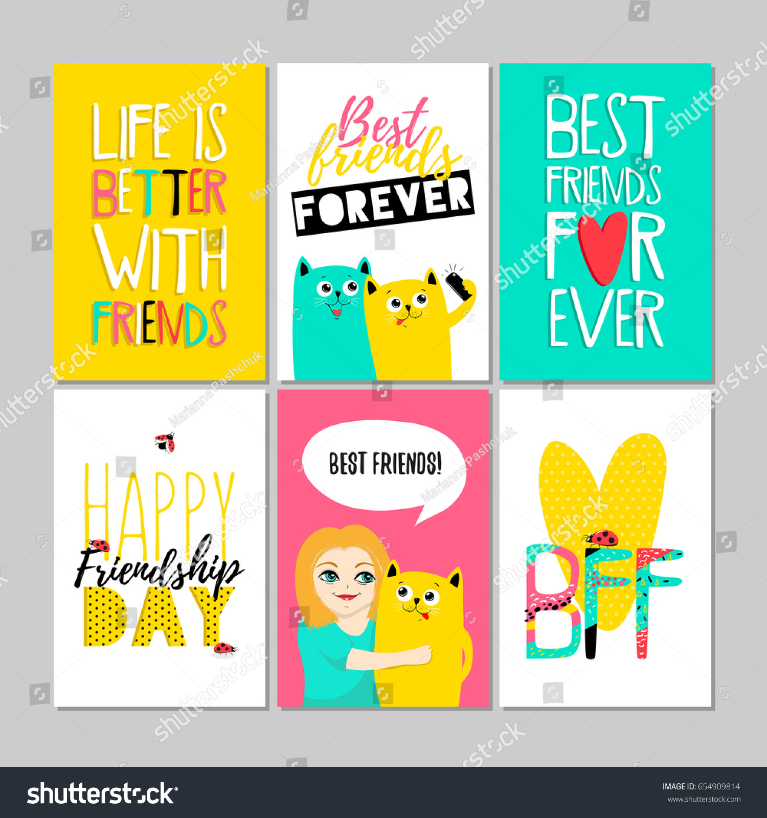 Best Friends Forever Set Greeting Cards Stock Vector Royalty Free