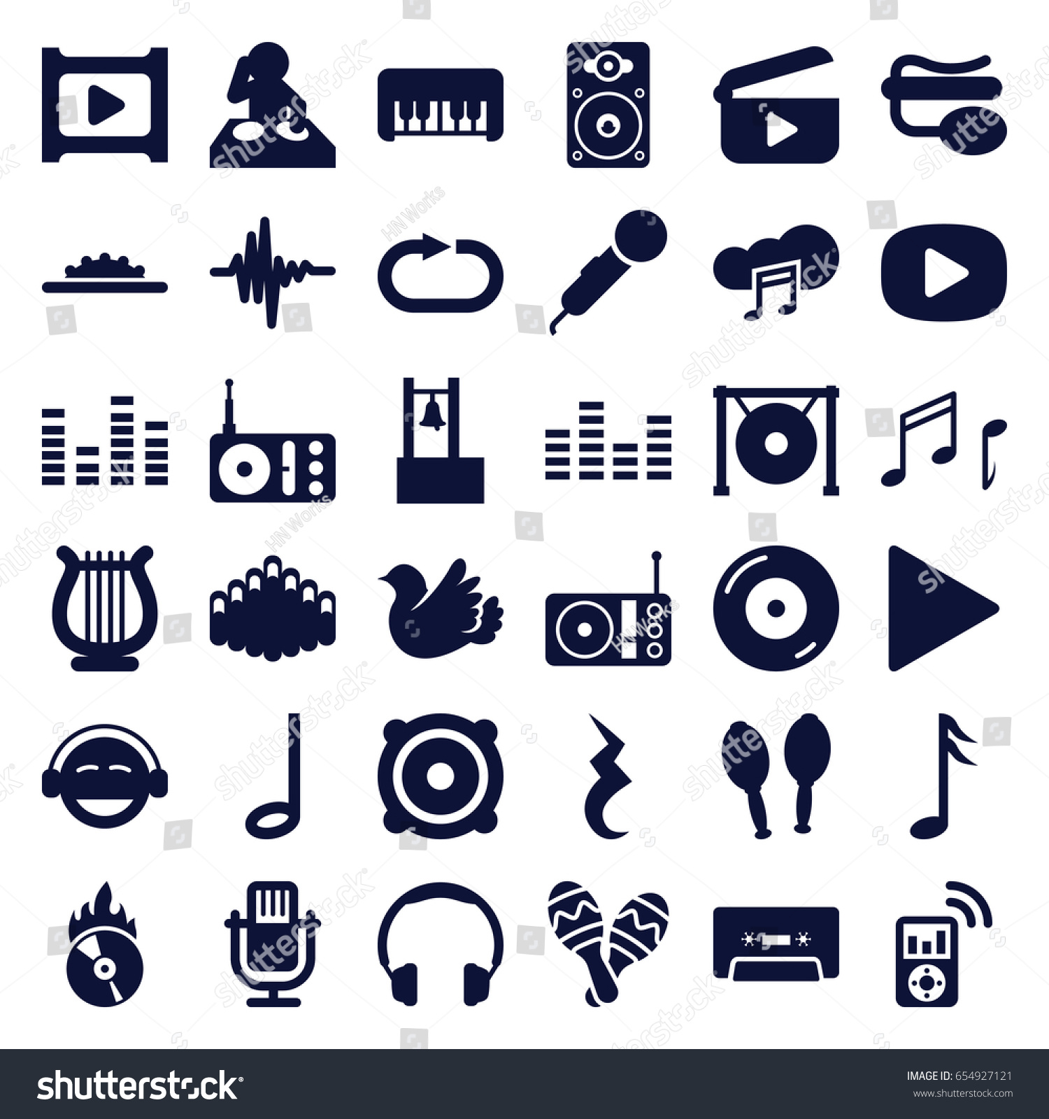 Music Icons Set Set 36 Music Stock Vector 654927121 Shutterstock