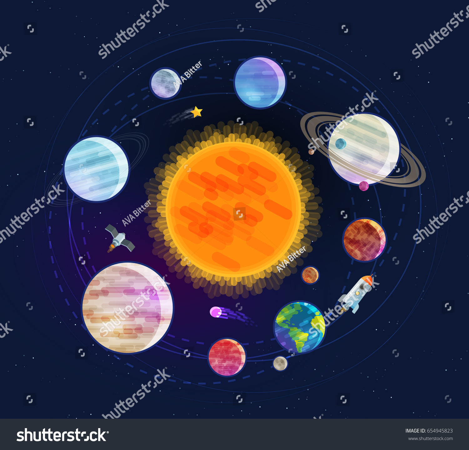 Astronomy Space Astrology Concept Solar System Stock ...