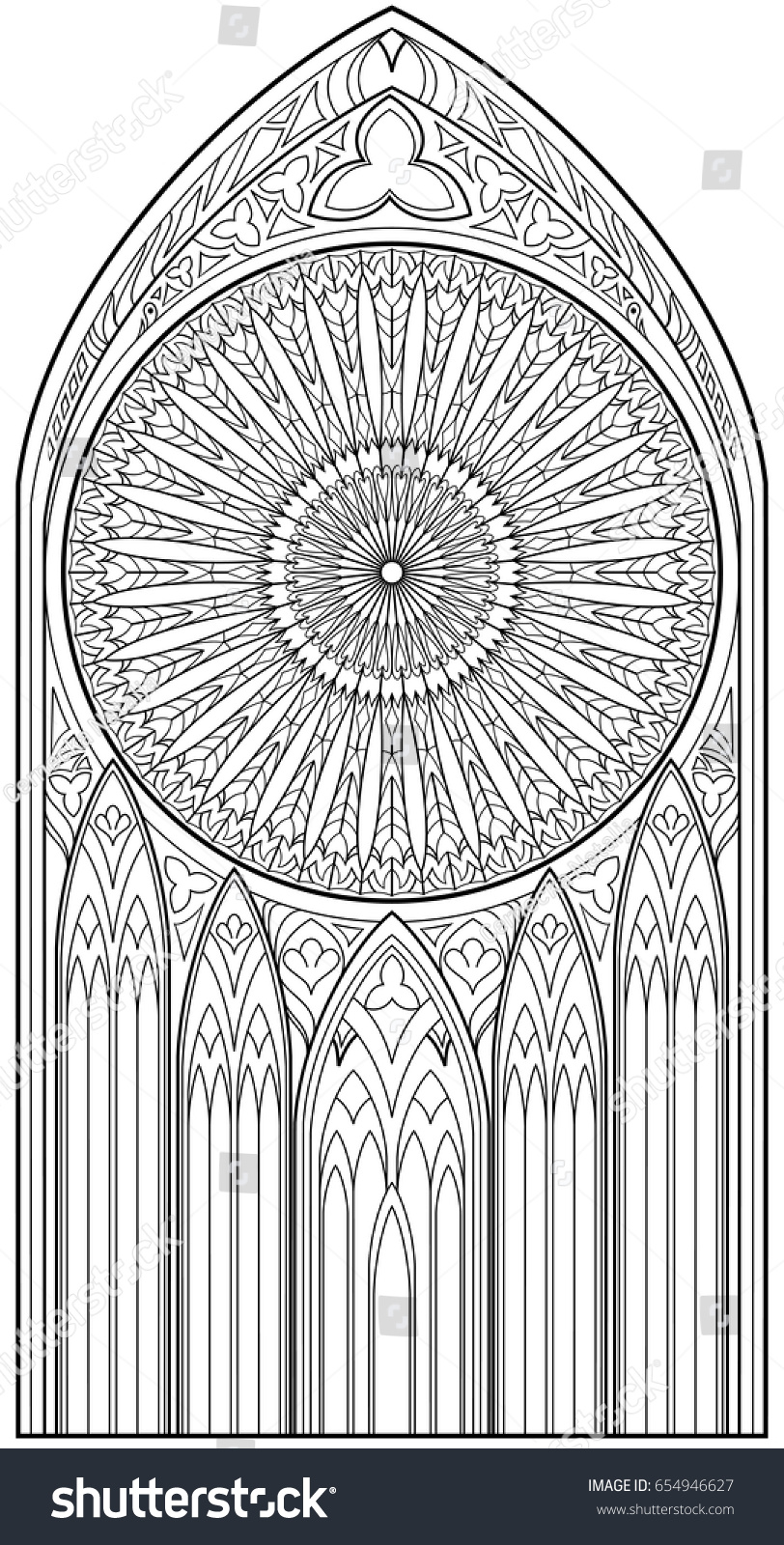 page black white drawing beautiful medieval stock vector 654946627