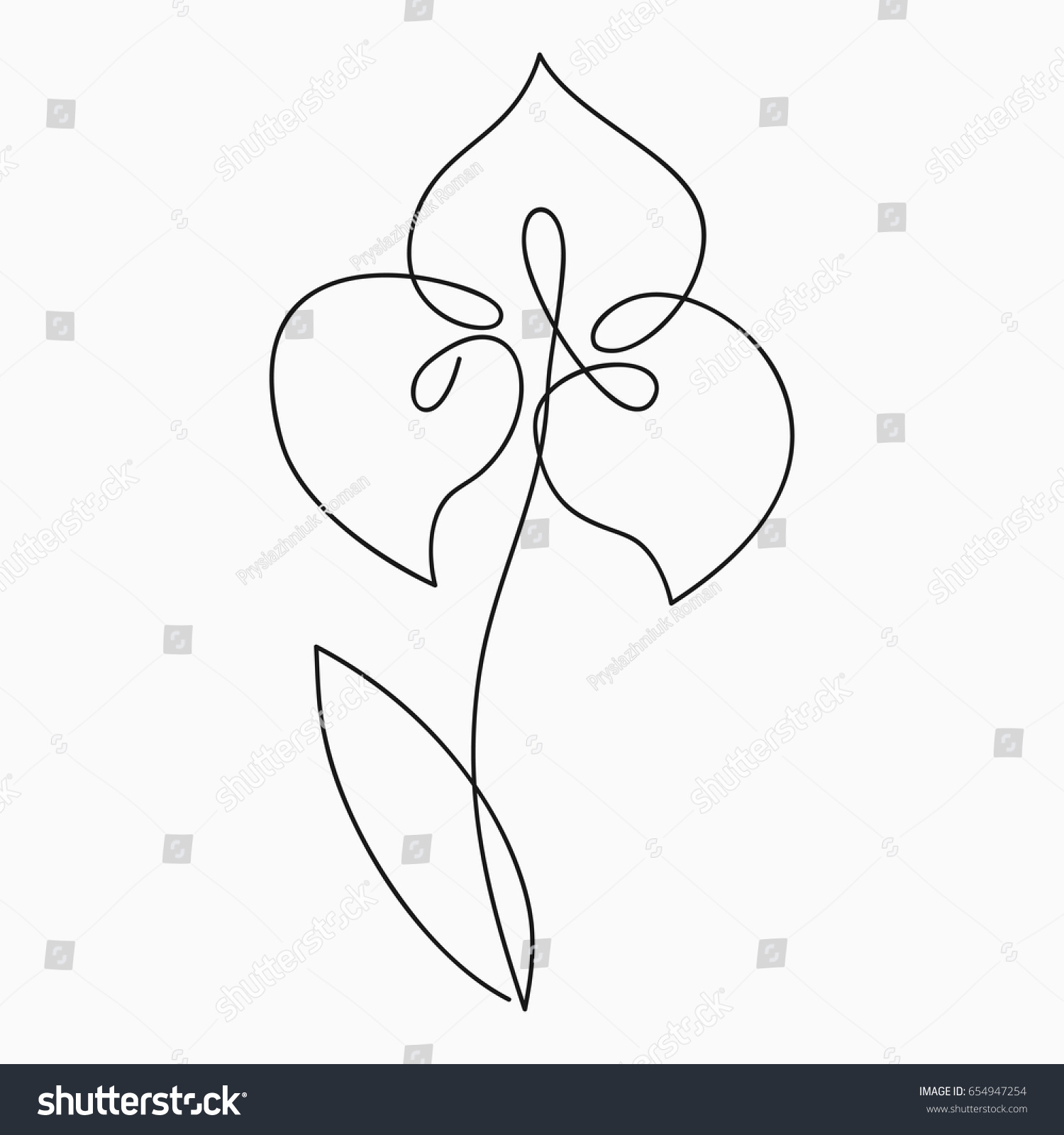 Single Line Drawing Flowers : Iris one line drawing continuous stock vector