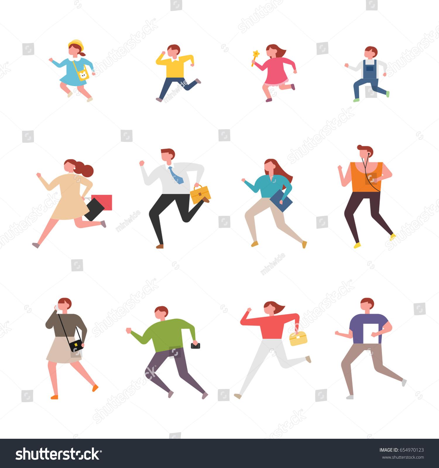 Vector Character Design Illustrator : Running people character vector illustration flat stock