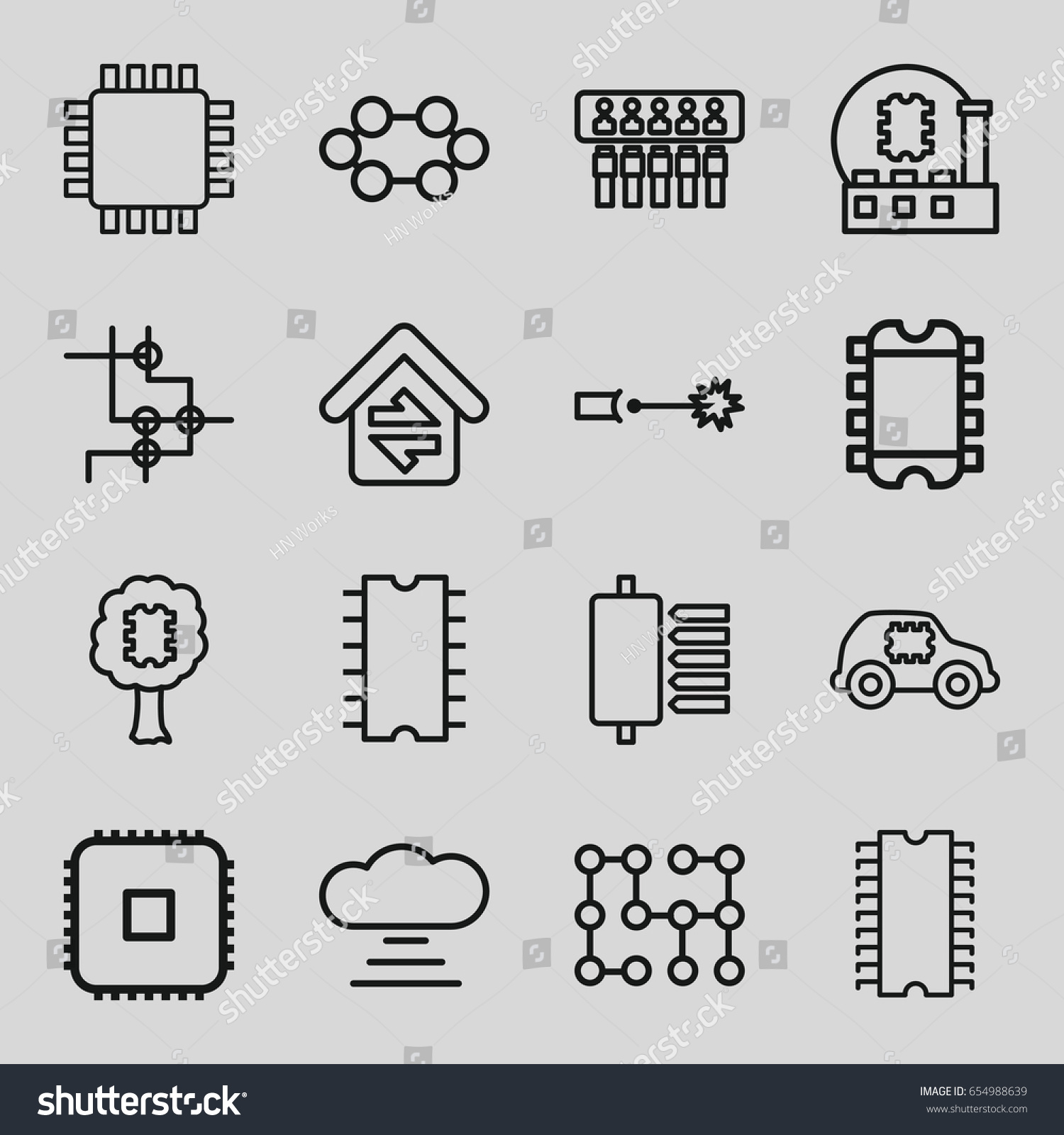 Circuit Icons Set Set 16 Circuit Stock Vector 654988639 - Shutterstock