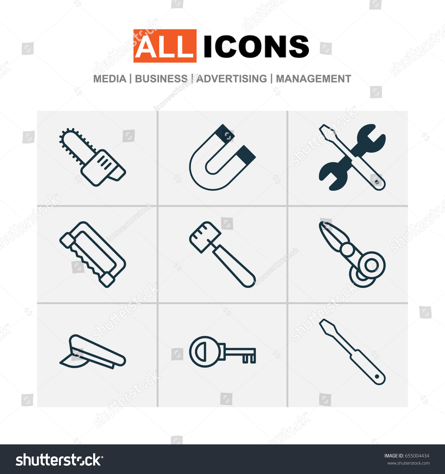 Apparatus icons set collection clippers carpentry stock vector apparatus icons set collection of clippers carpentry gasoline cutter and other elements buycottarizona Images
