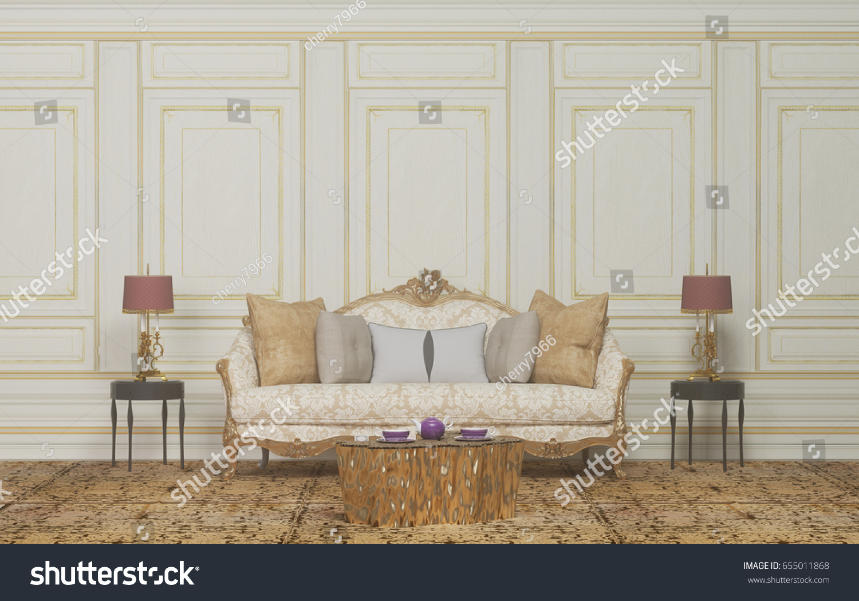 Interior Roomarmchair Lampthe Empty Roominterior Background Classic ...