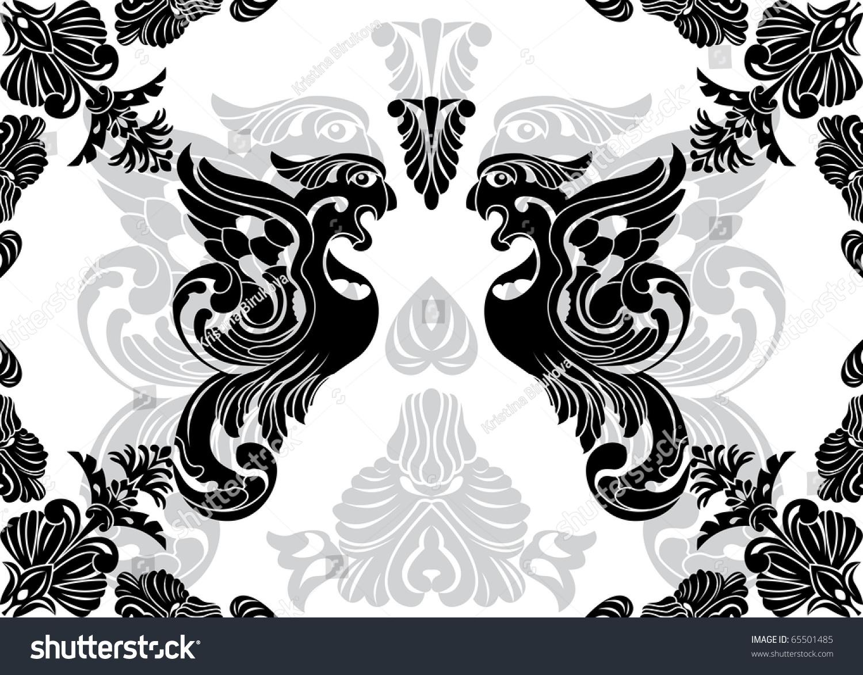 Phoenix Stencil Decorative Framework Stock-Vektorgrafik