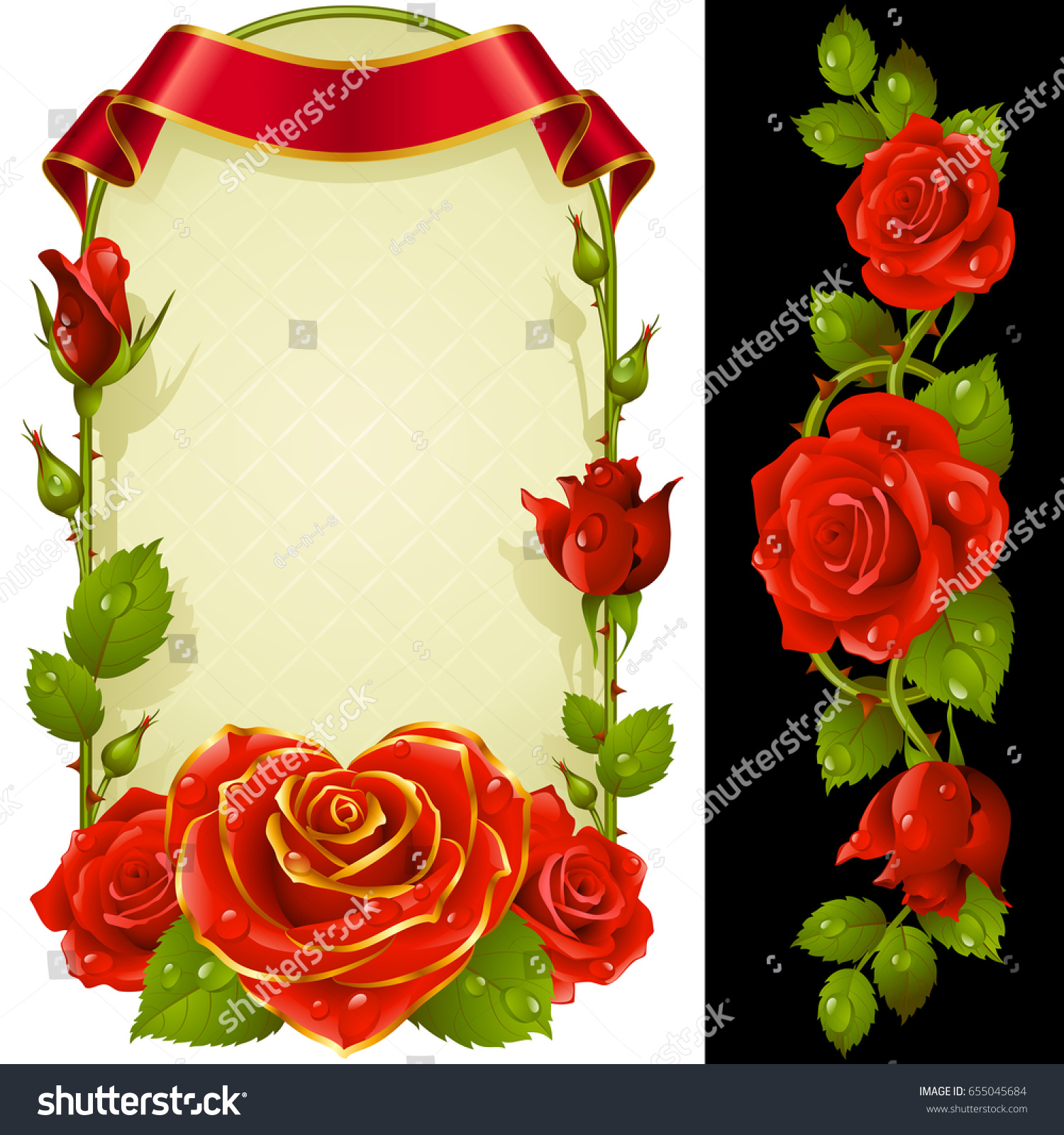 Vector Set Floral Decoration Red Roses Stock Vector (Royalty Free ...