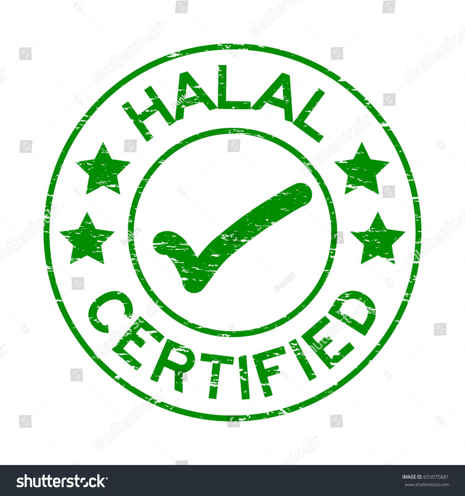 Grunge Green Halal Certified Mark Icon Stock Vector Hd Royalty Free