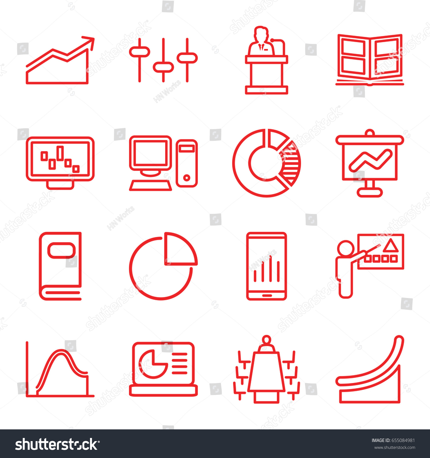 Presentation Icons Set 16 Stock Vector Royalty Schema Of Origami Mobile Crane 2 Outline Such As Equalizer Meeting