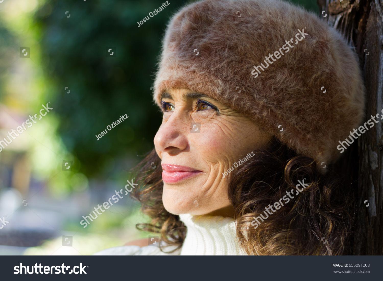 bright close portrait dazzling mature woman stock photo (royalty