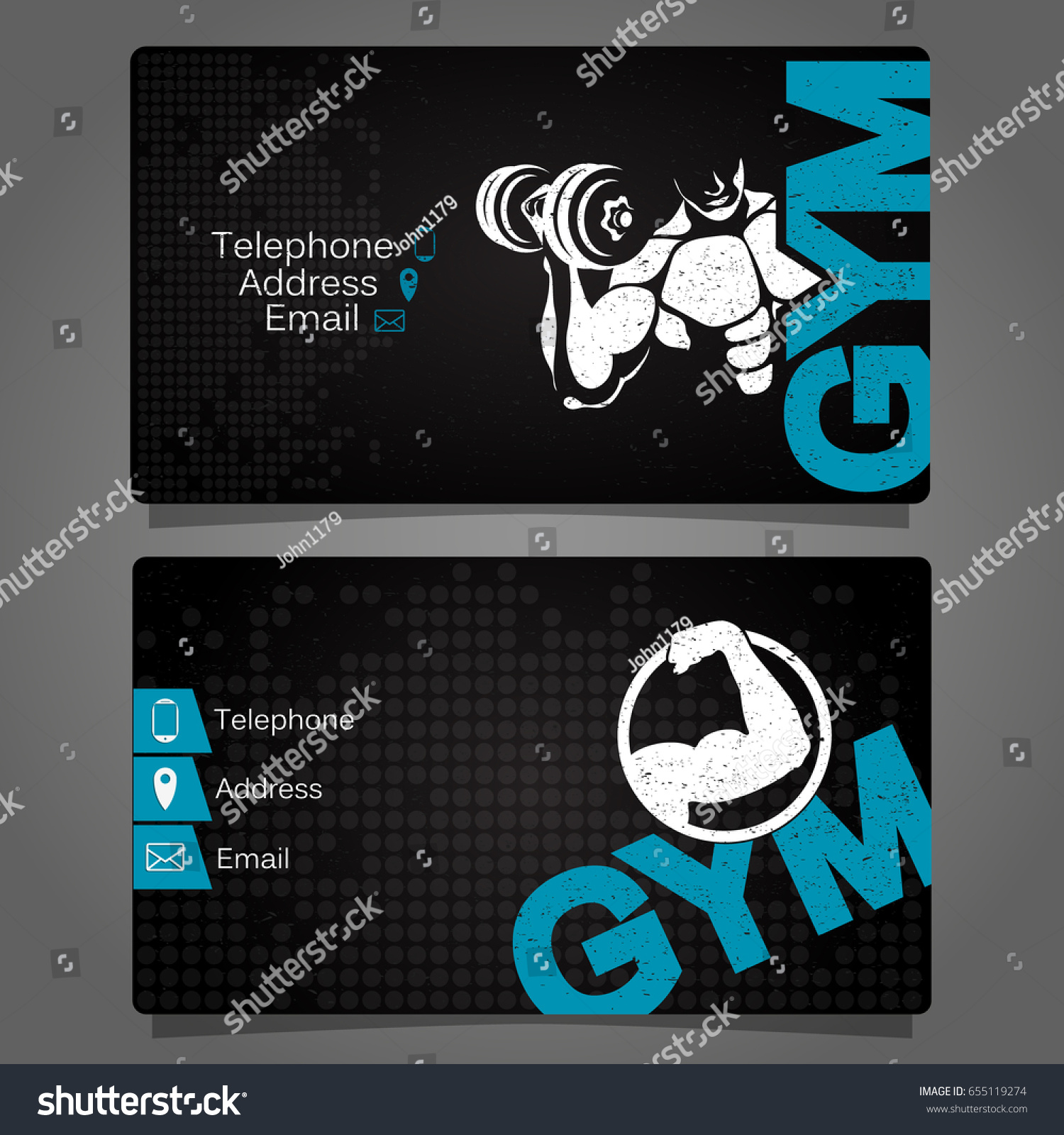 Business Card Gym Fitness Concept Vector Stock Vector 655119274 ...